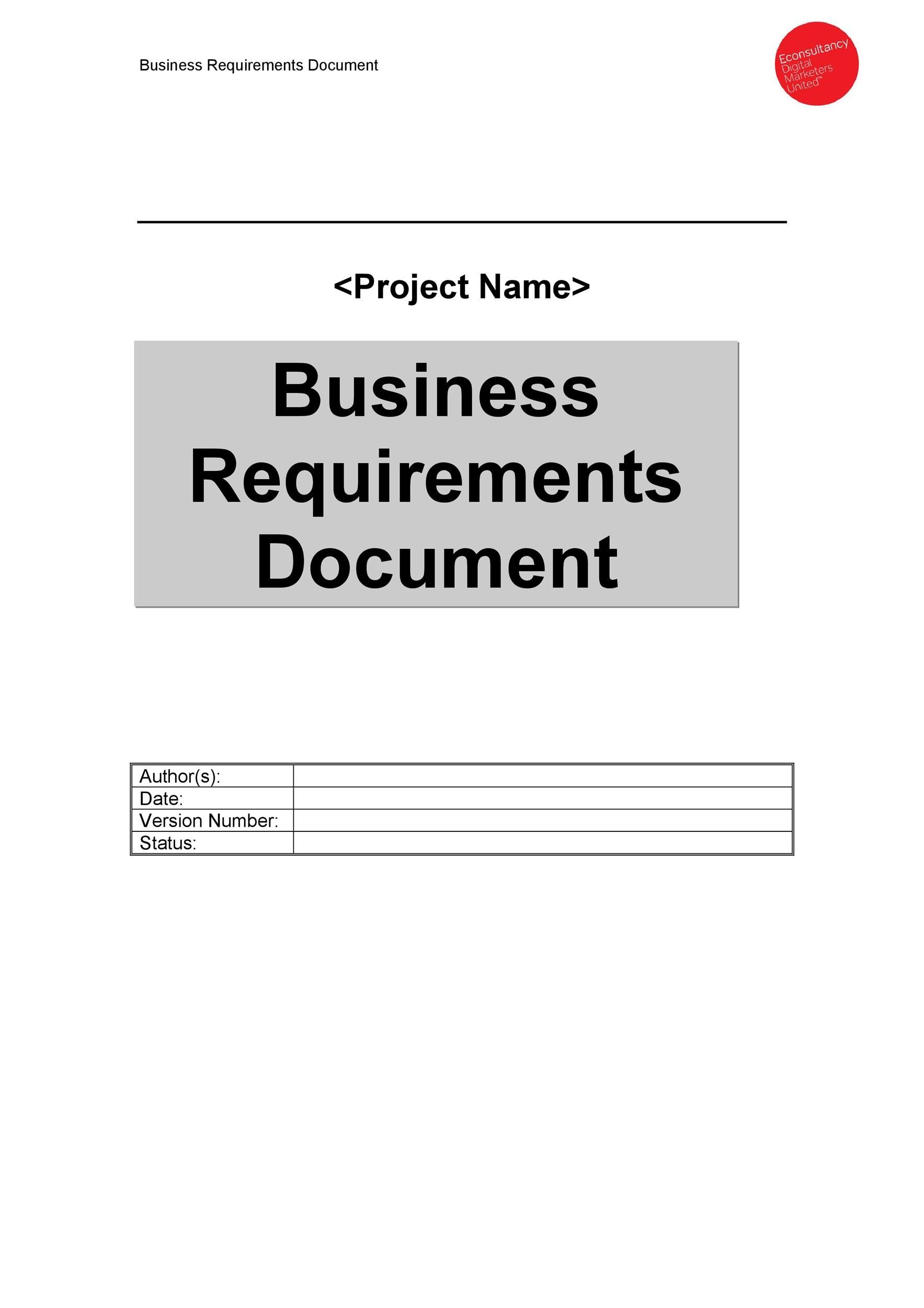 40 simple business requirements document templates template lab free business requirements document template 19 flashek Choice Image