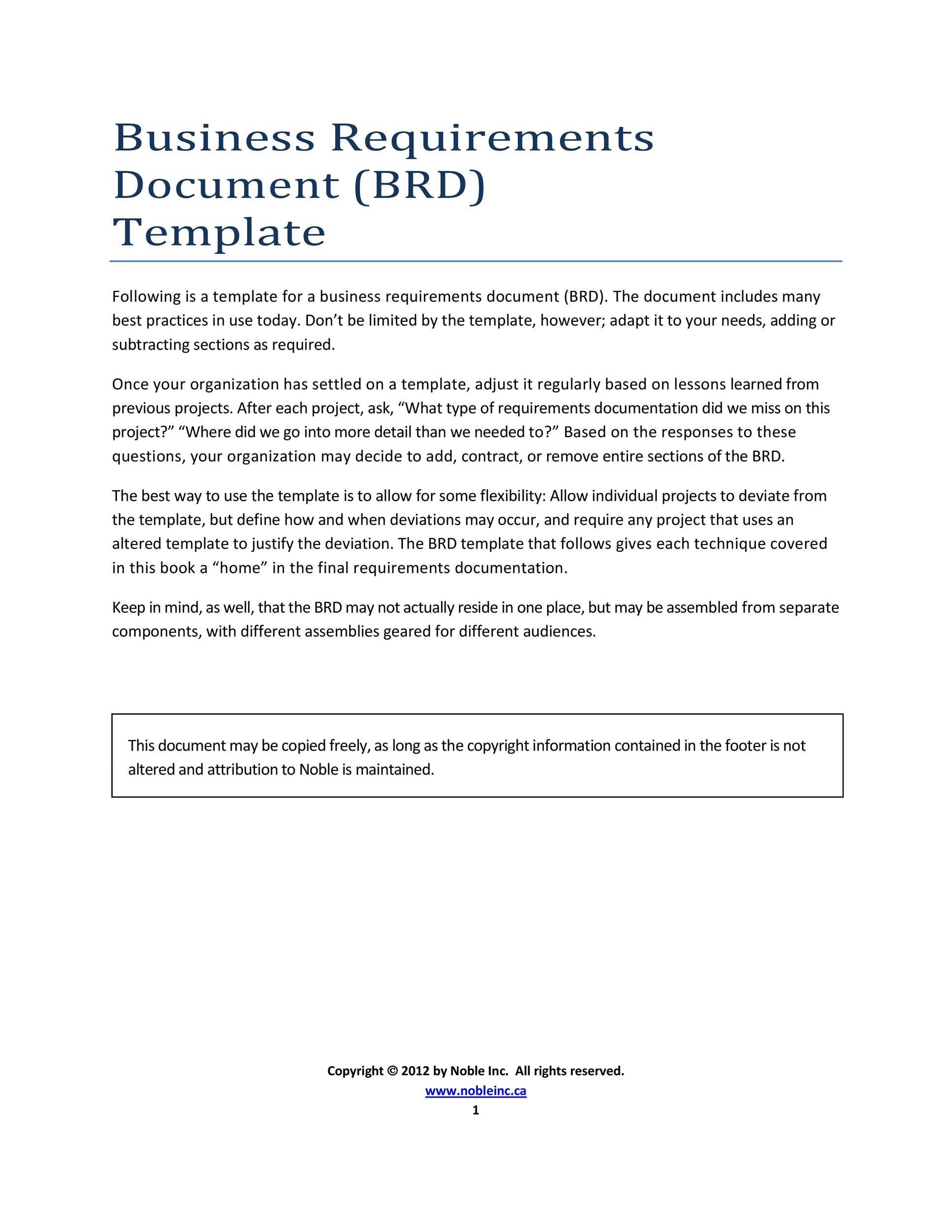 Free business requirements document template 22