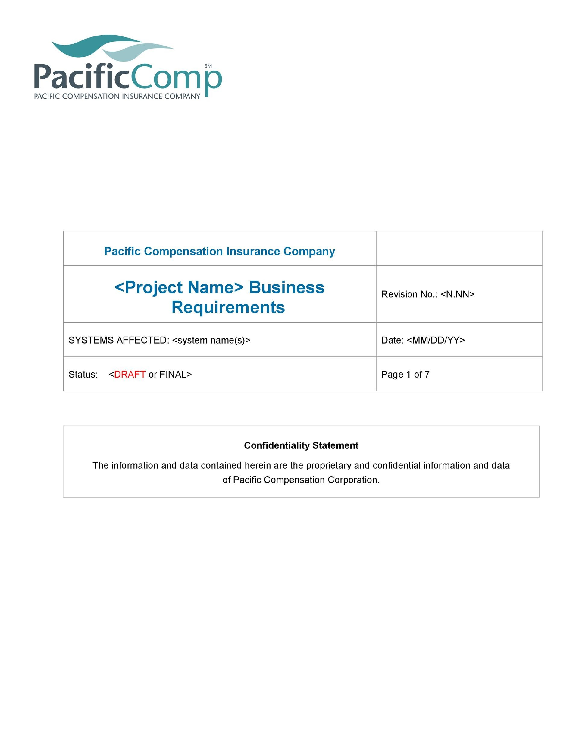 Free business requirements document template 25