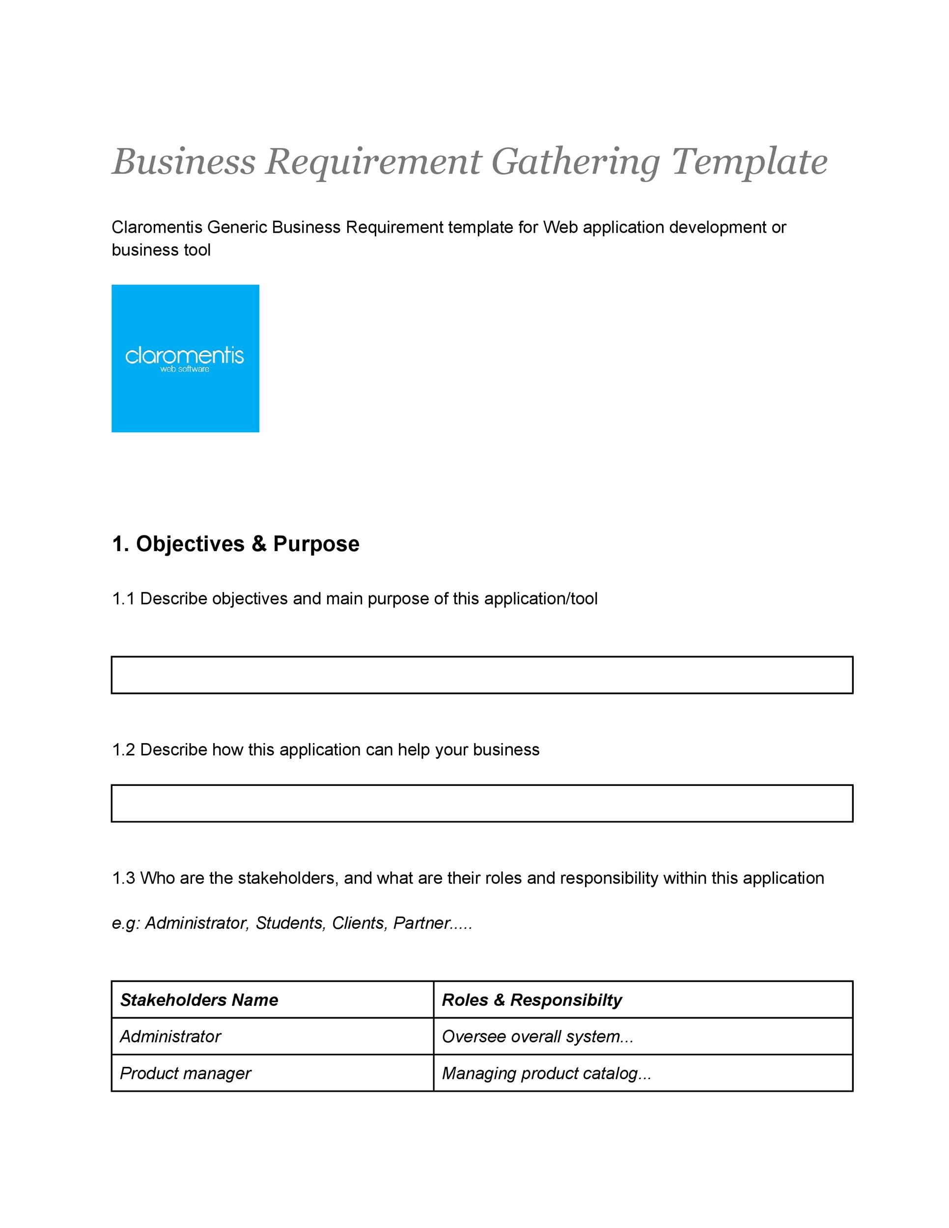 40 simple business requirements document templates template lab free business requirements document template 31 accmission Gallery