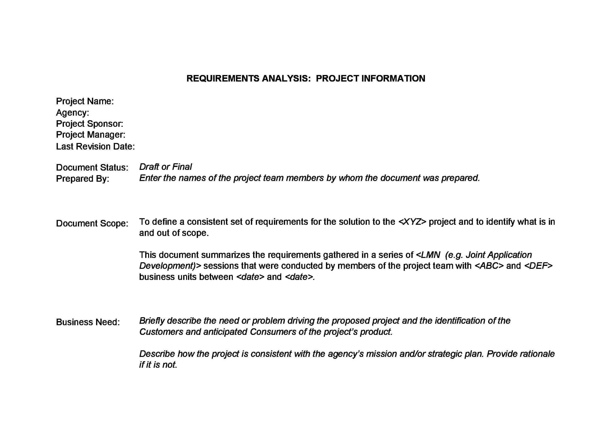 Free business requirements document template 33
