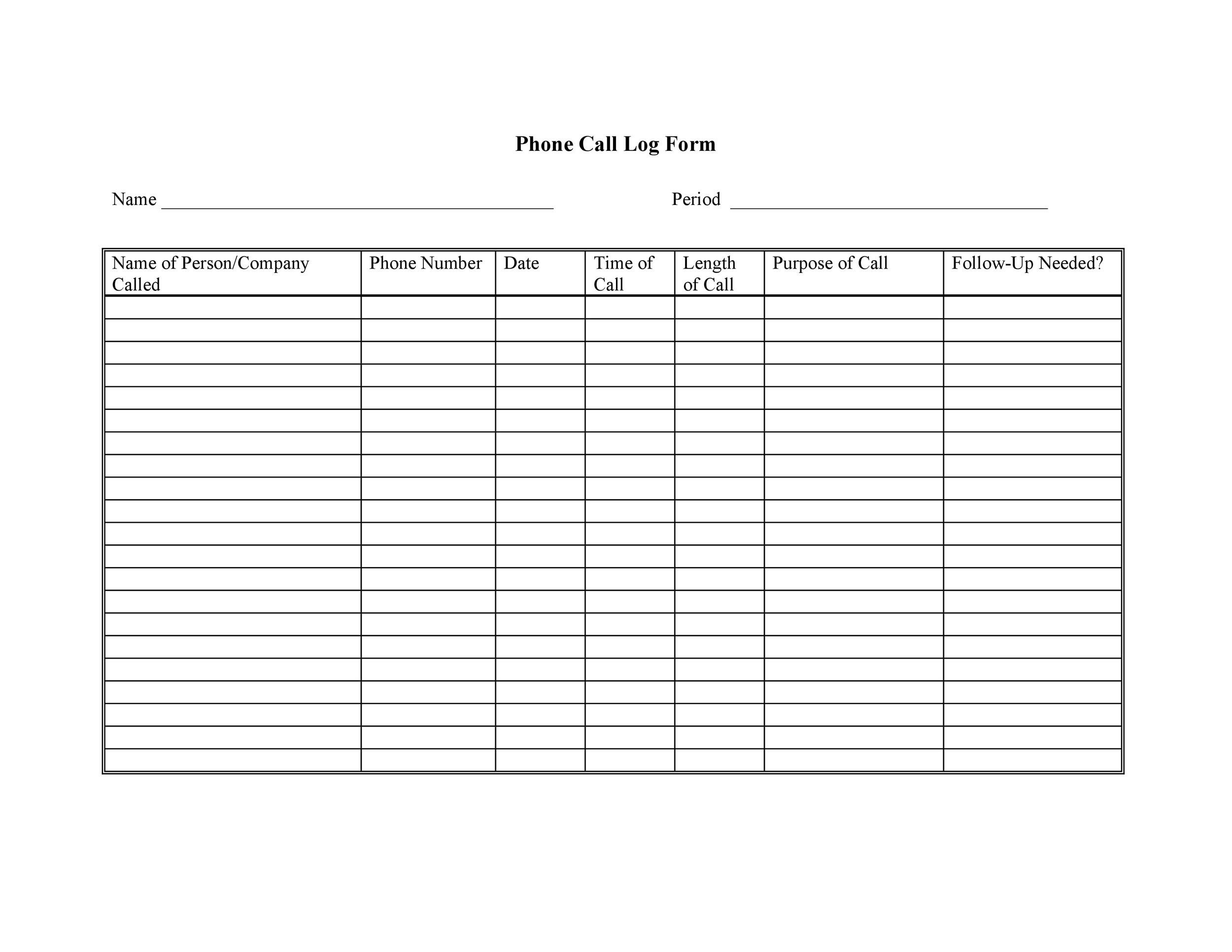 Free call log template 04