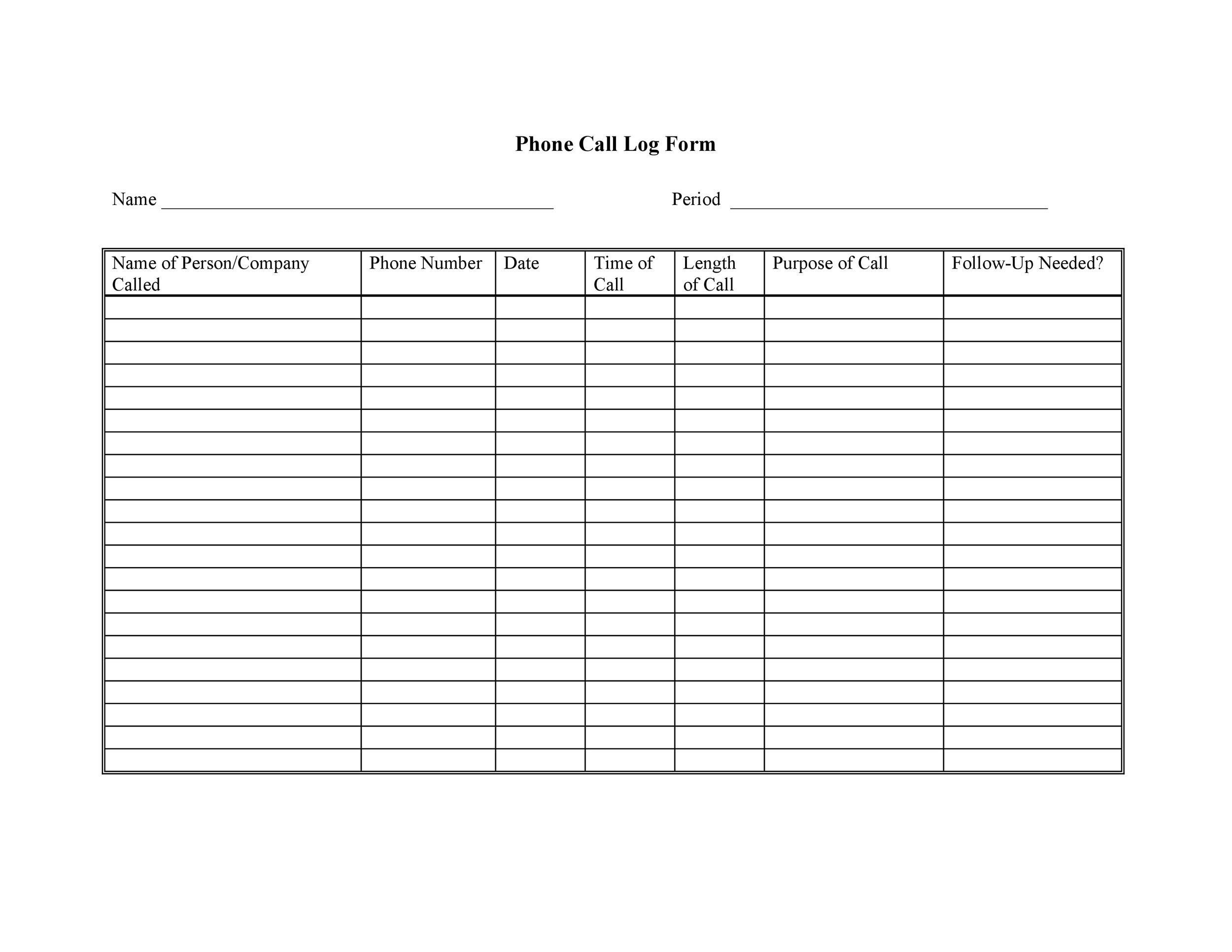 Free call log template 04