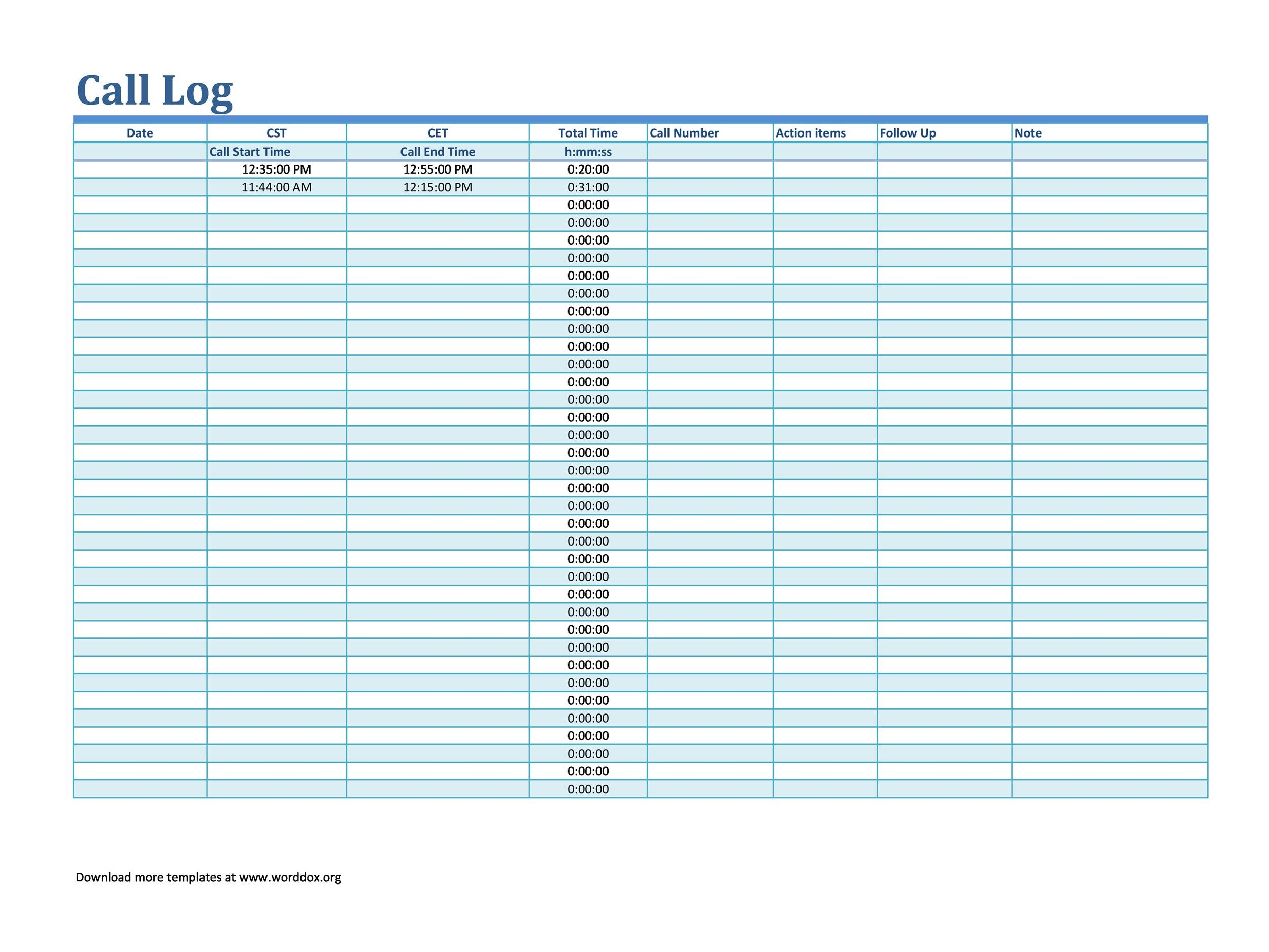 Free call log template 07