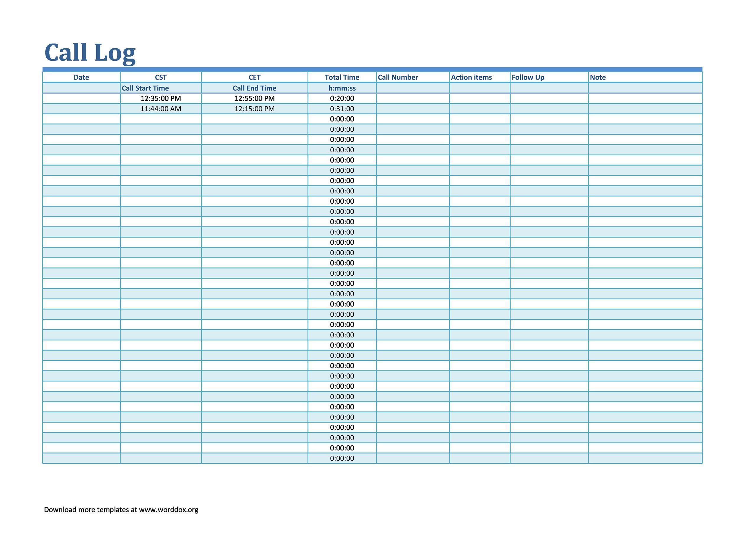 Free call log template 07