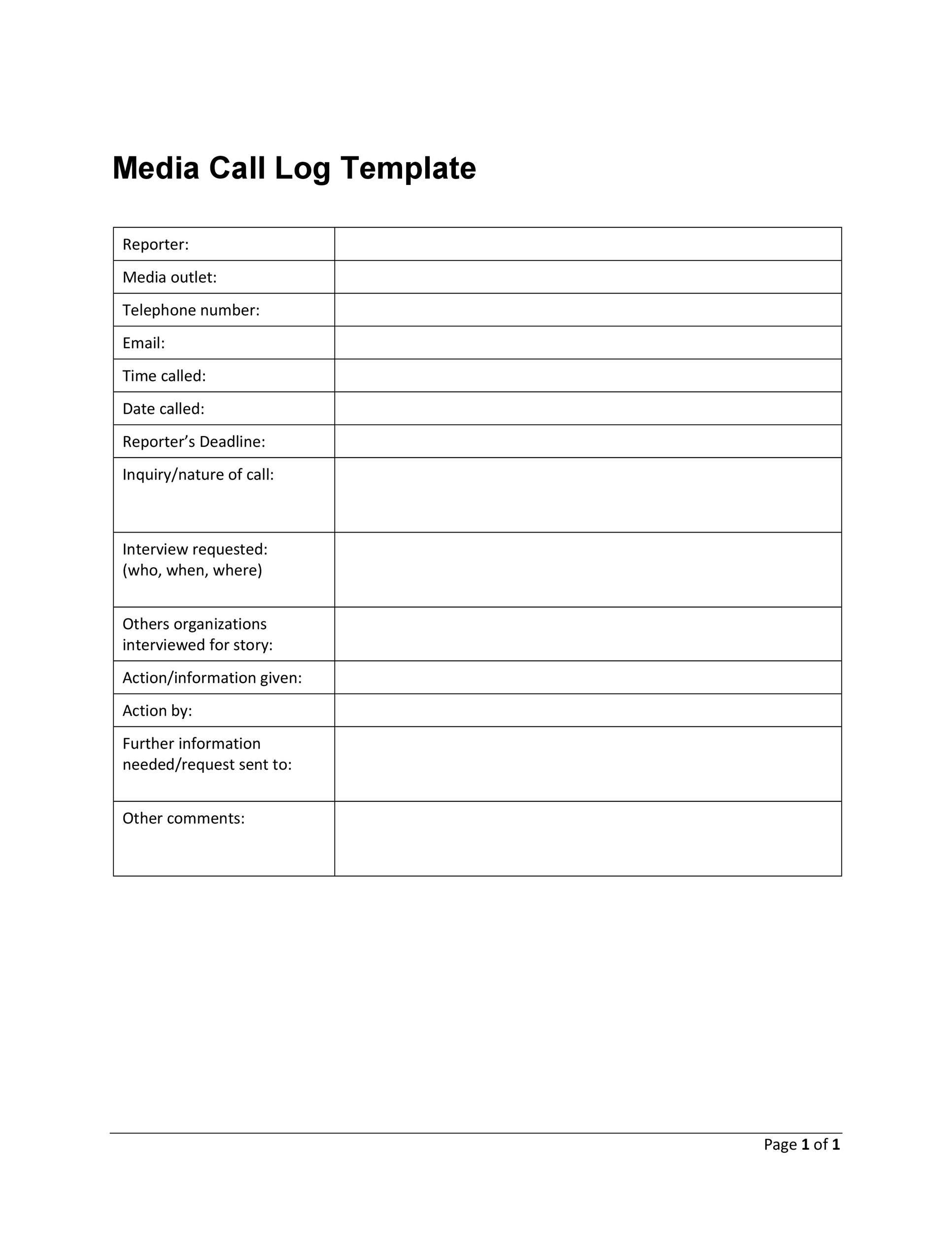 Free call log template 08