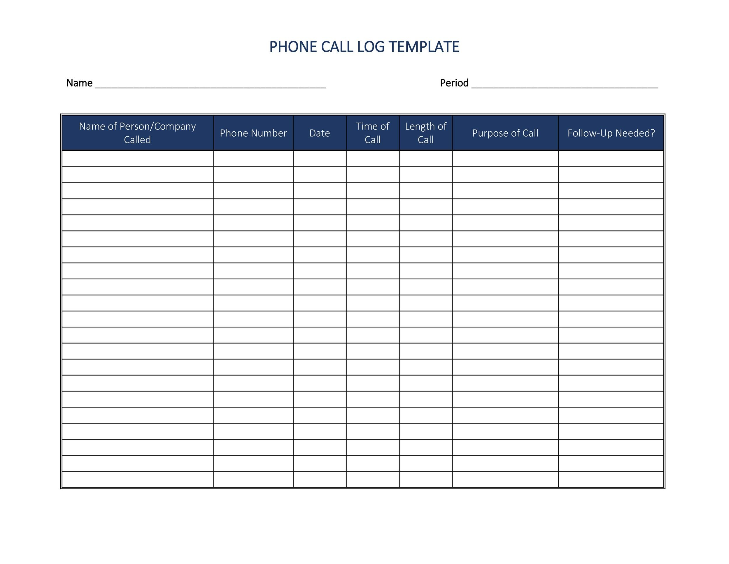 Free call log template 09