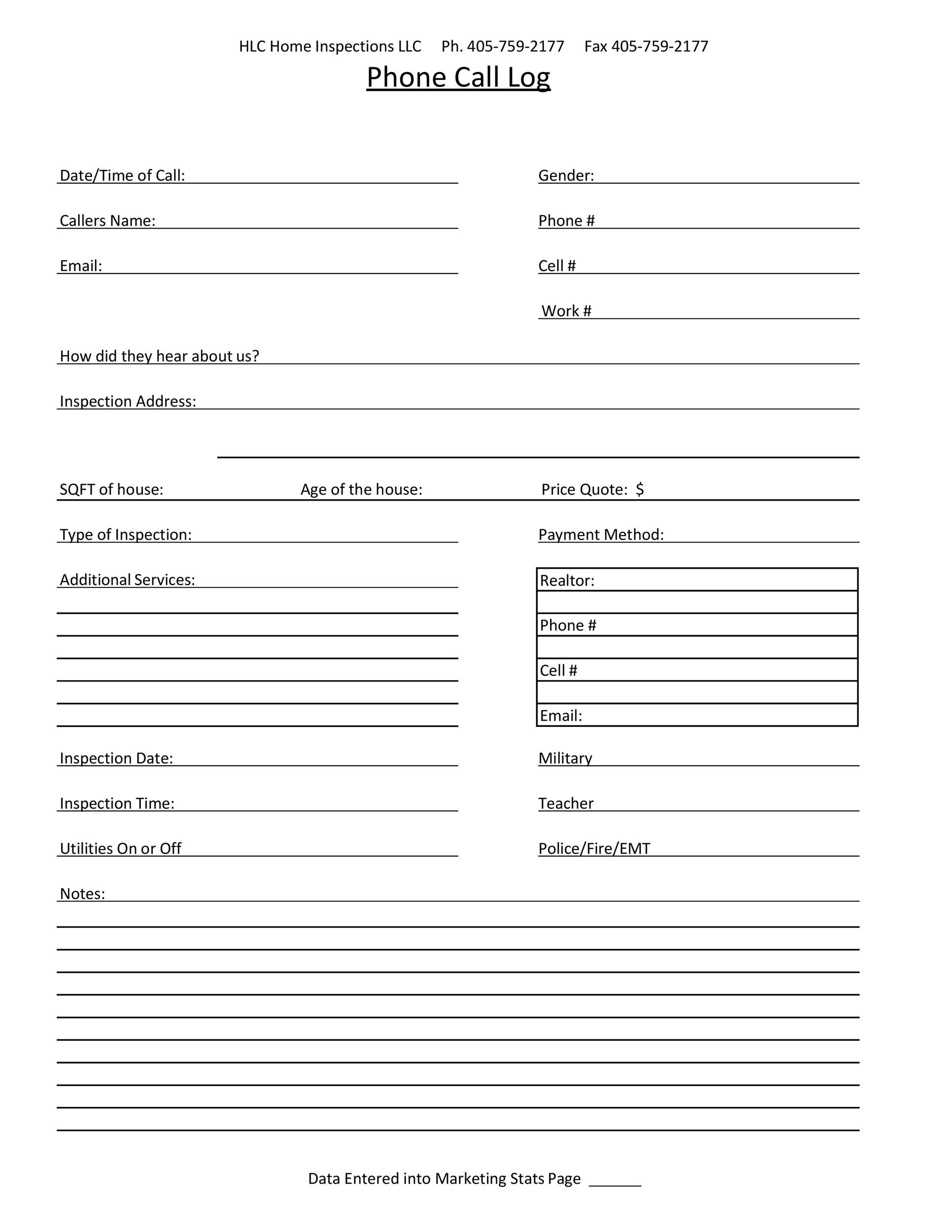Free call log template 11