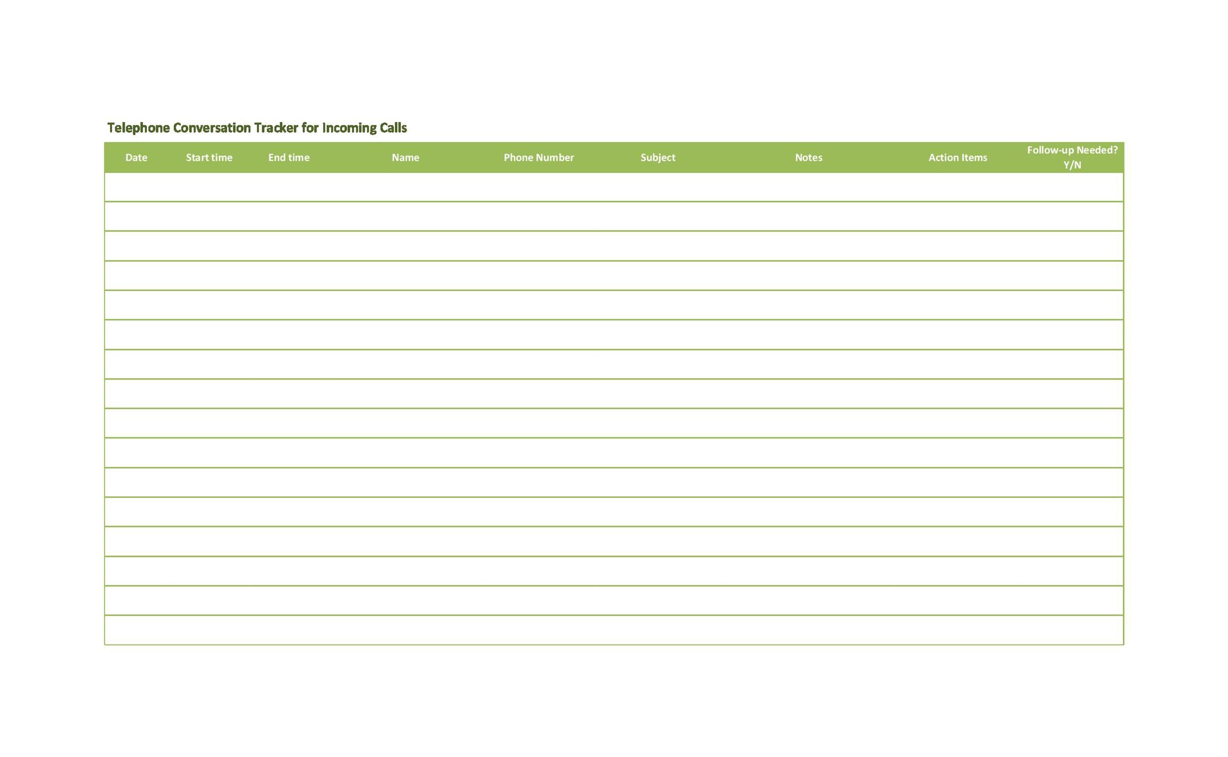 Free call log template 12