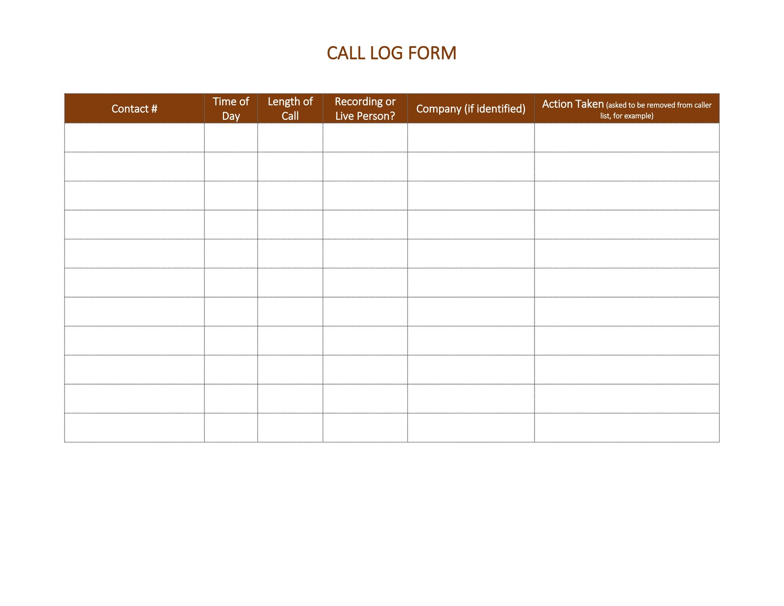 Free call log template 13
