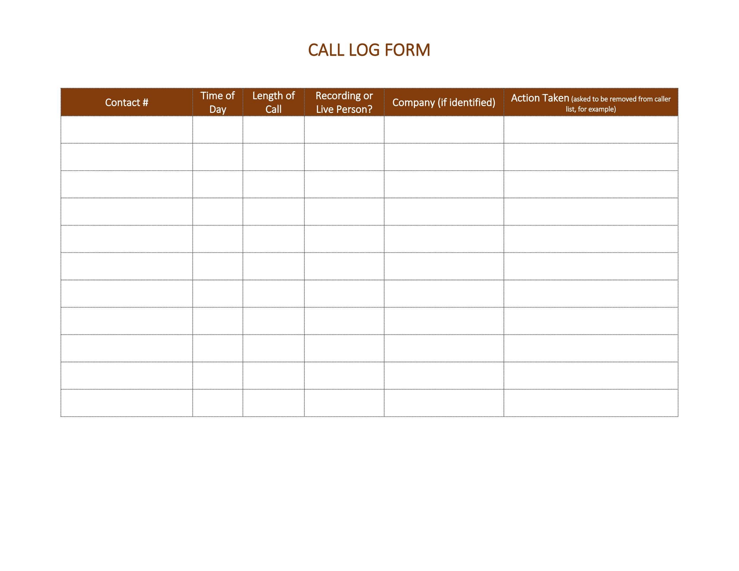 Free call log template 13
