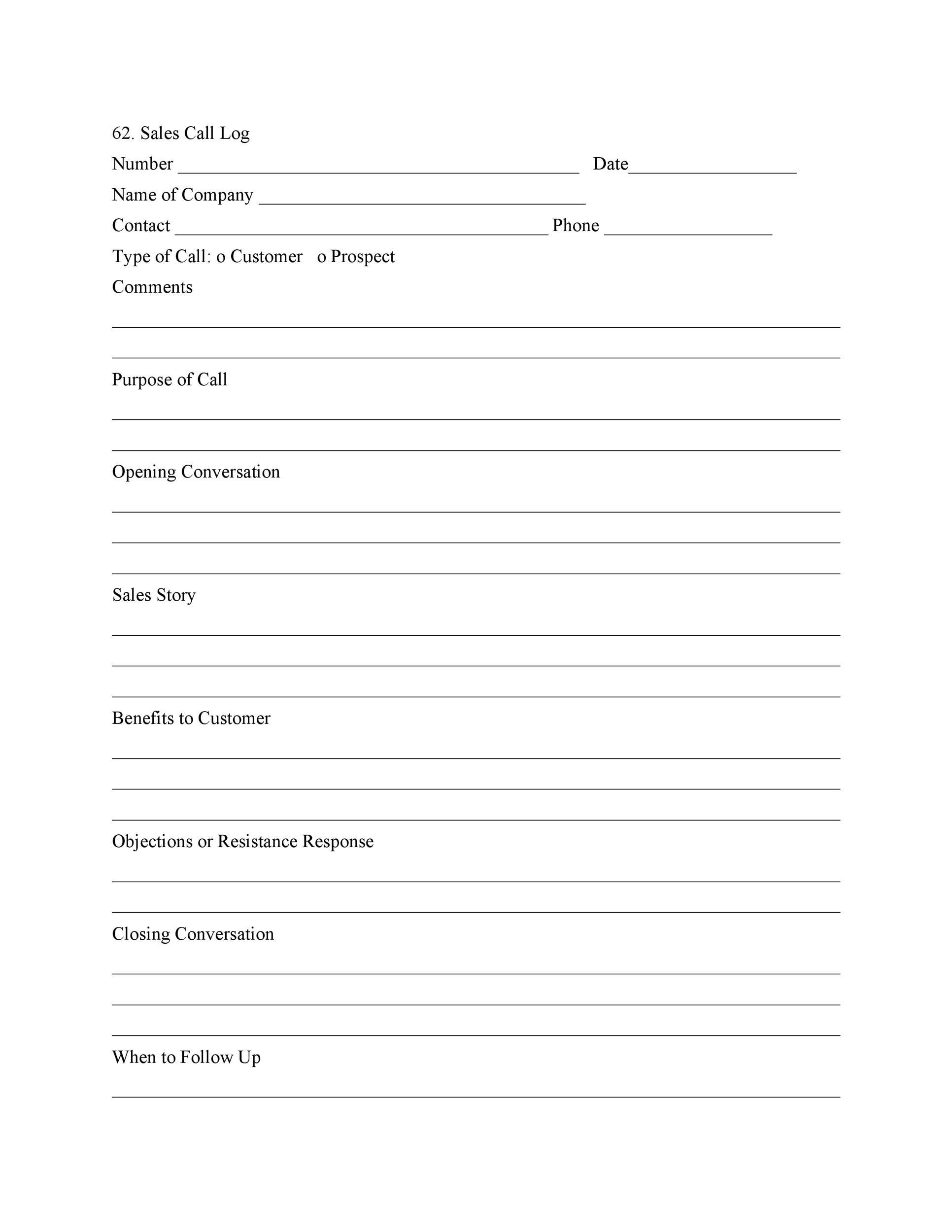 Free call log template 14