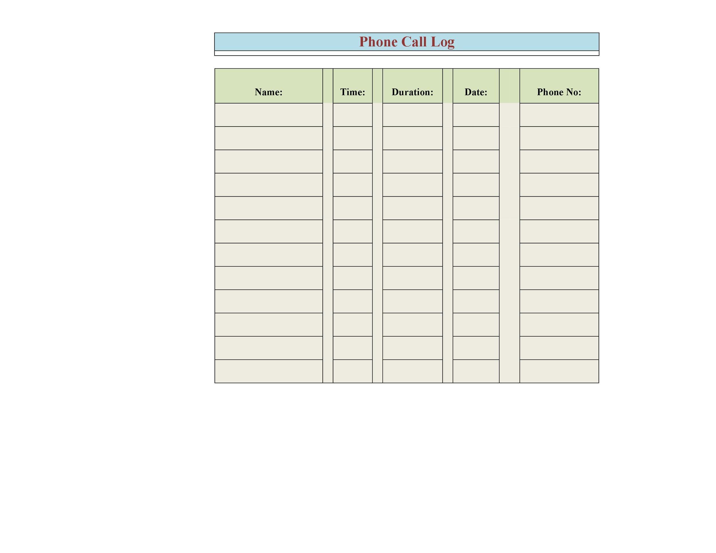 Free call log template 19