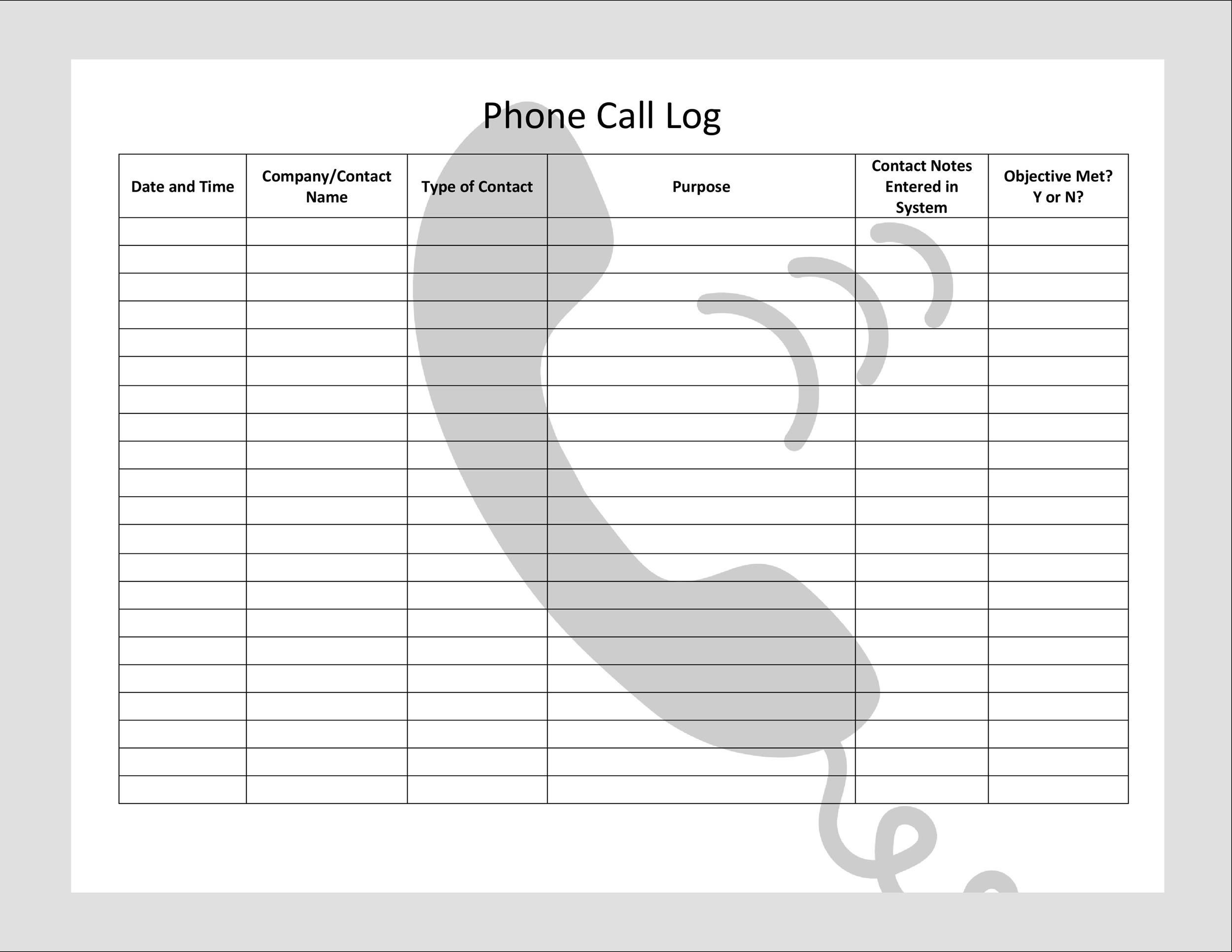 graphic regarding Printable Phone Log called 40+ Printable Contact Log Templates inside of Microsoft Term and Excel