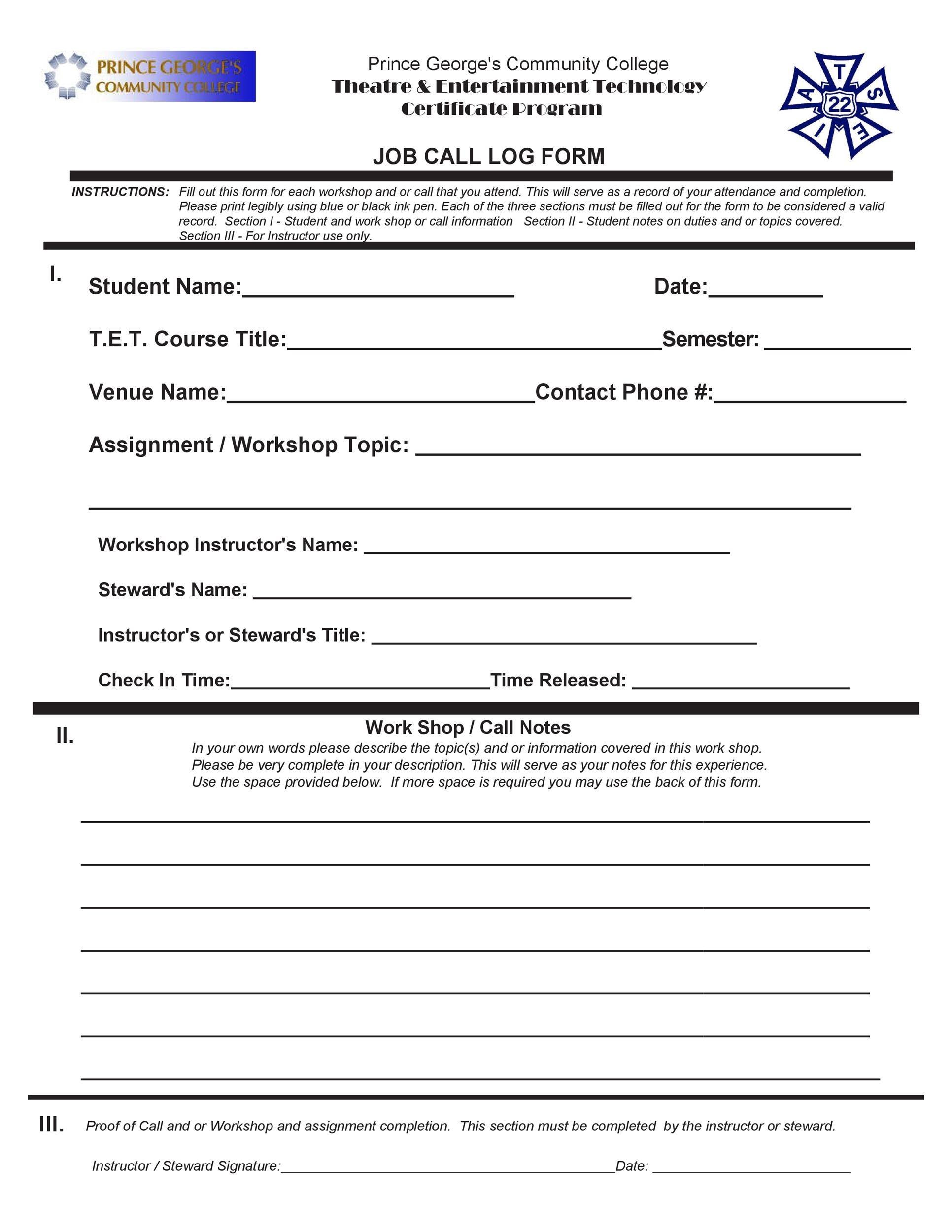 Free call log template 32
