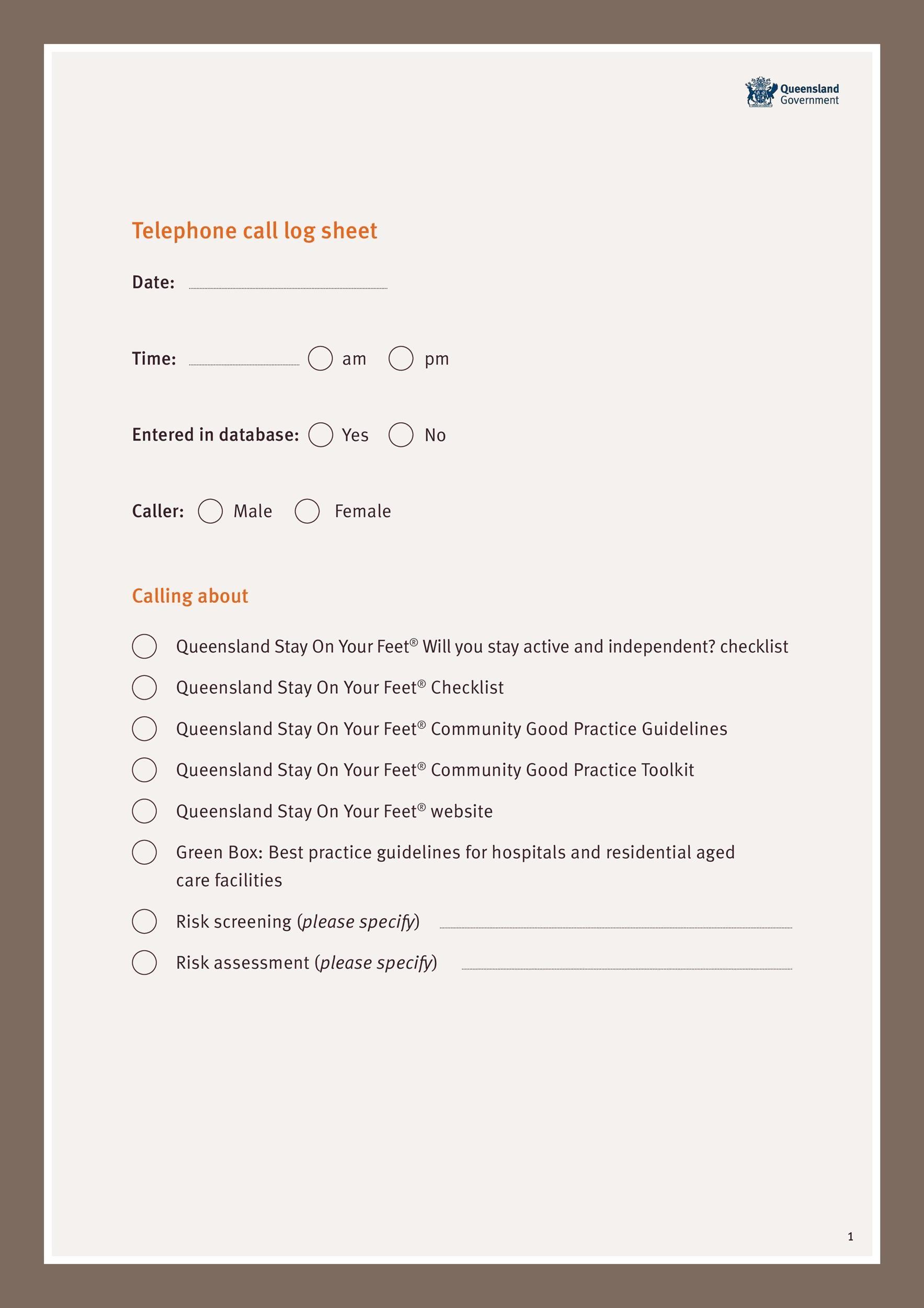 Free call log template 33