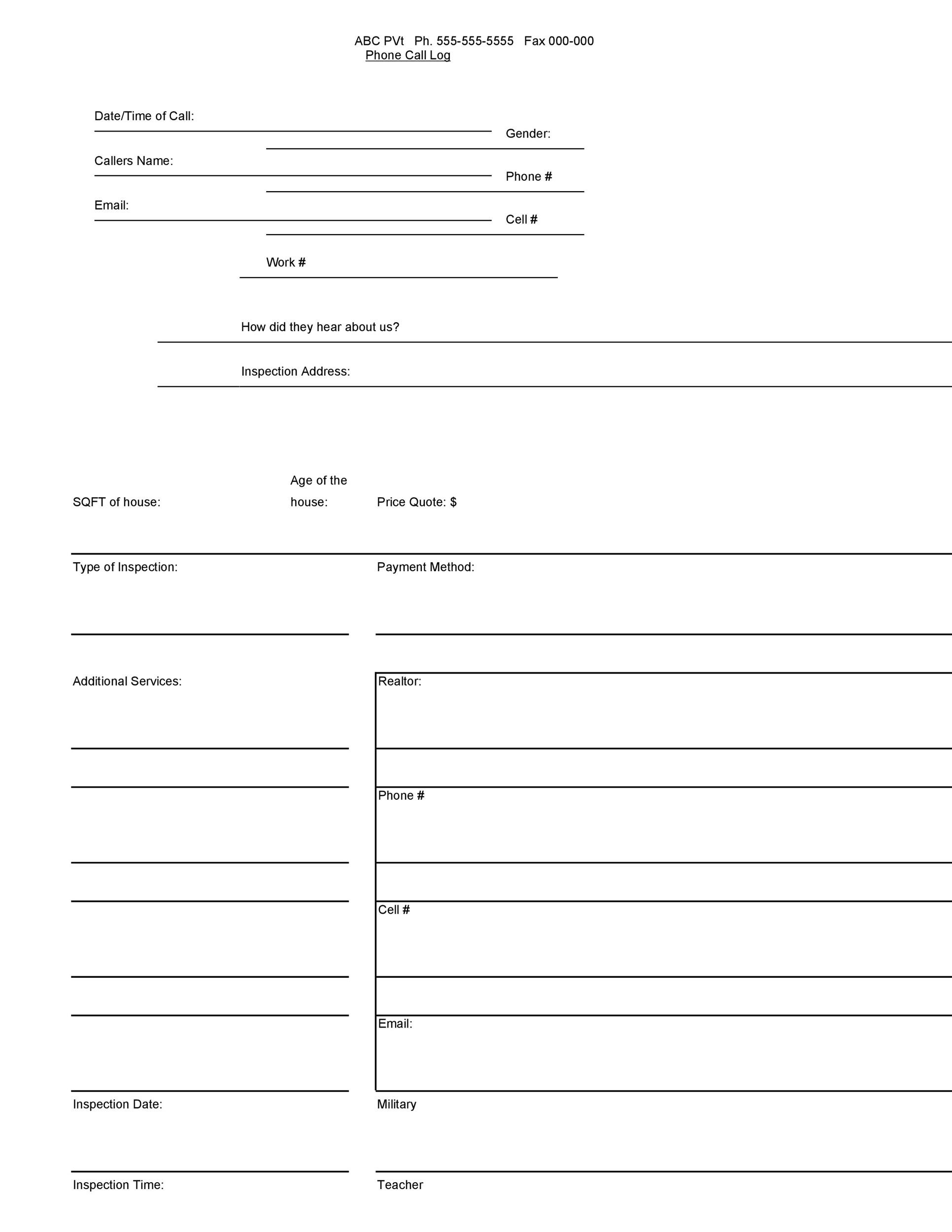 Free call log template 35