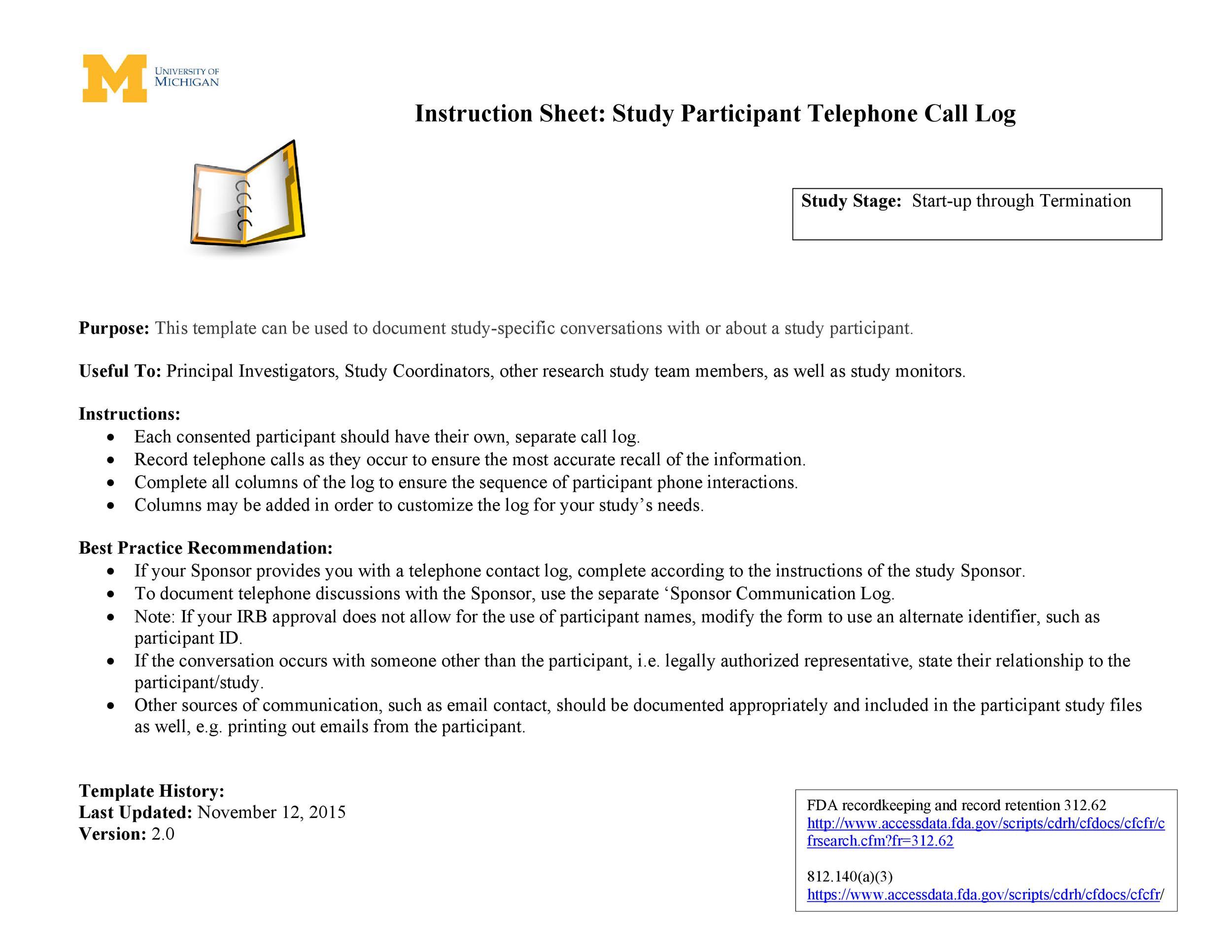 Free call log template 40