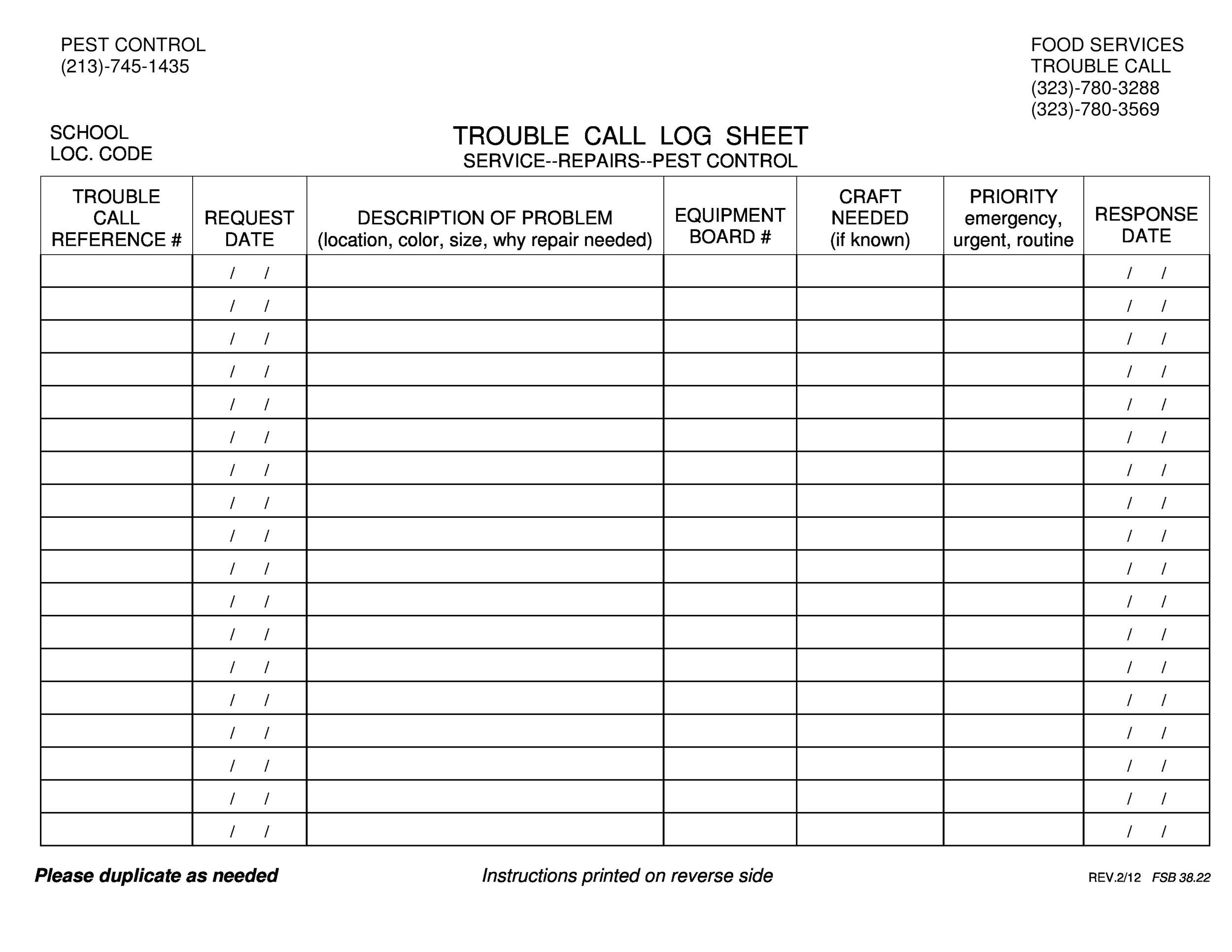 Free call log template 42