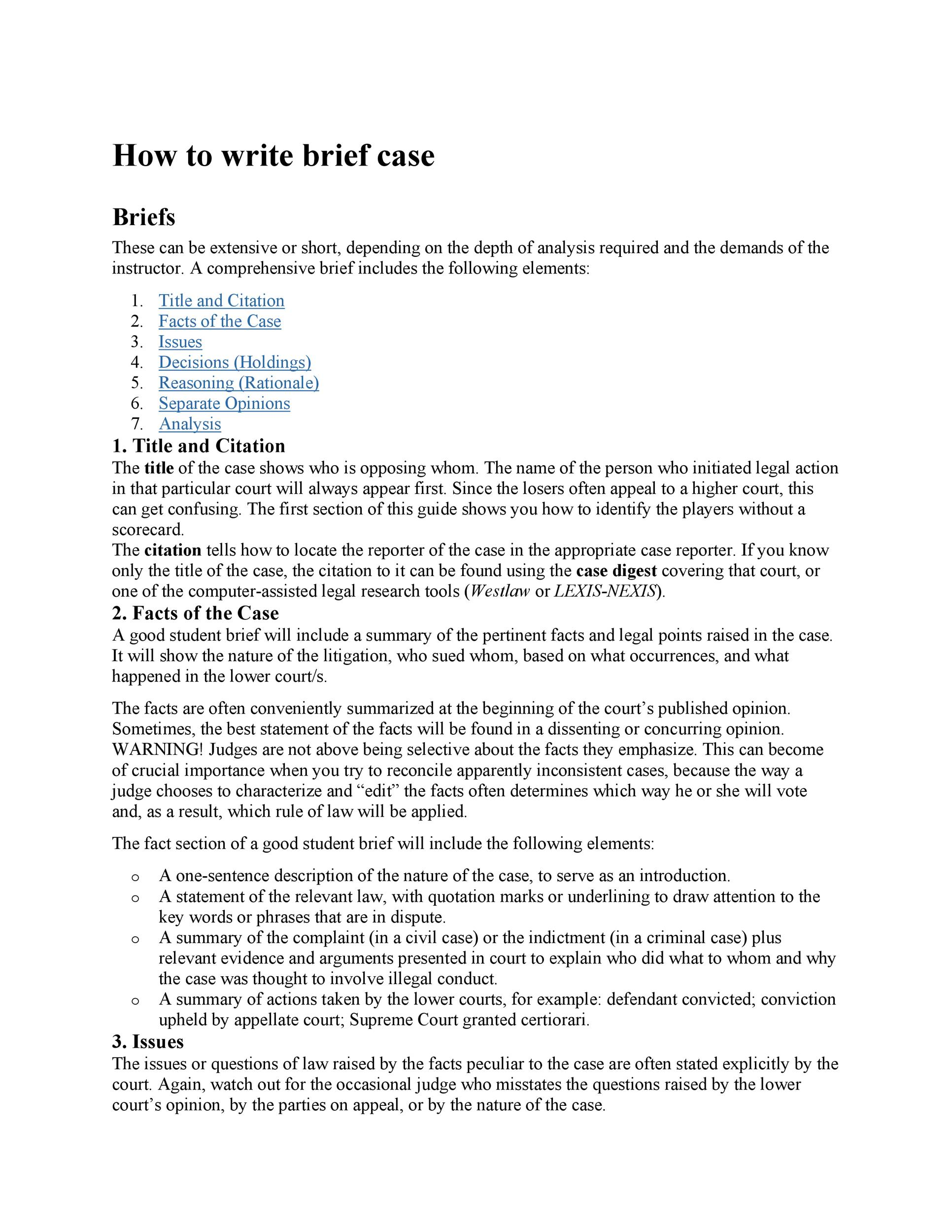 Free case brief template 04