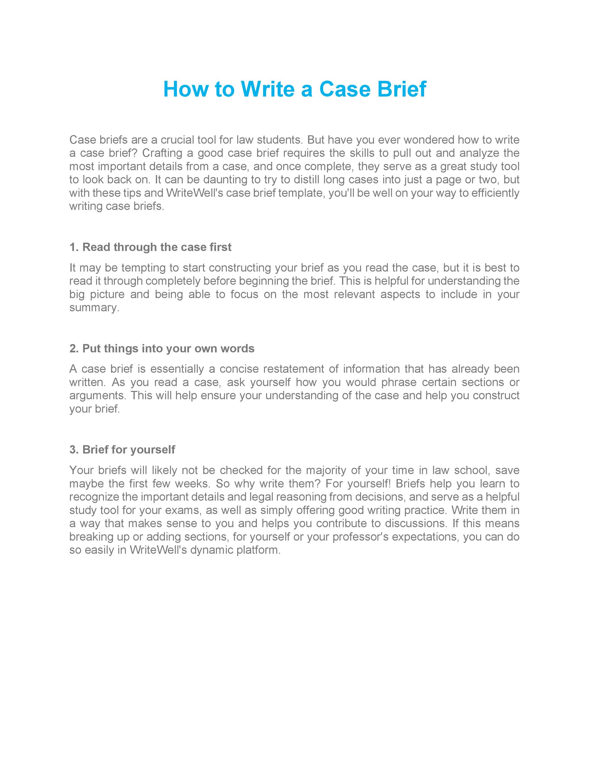 Free case brief template 11