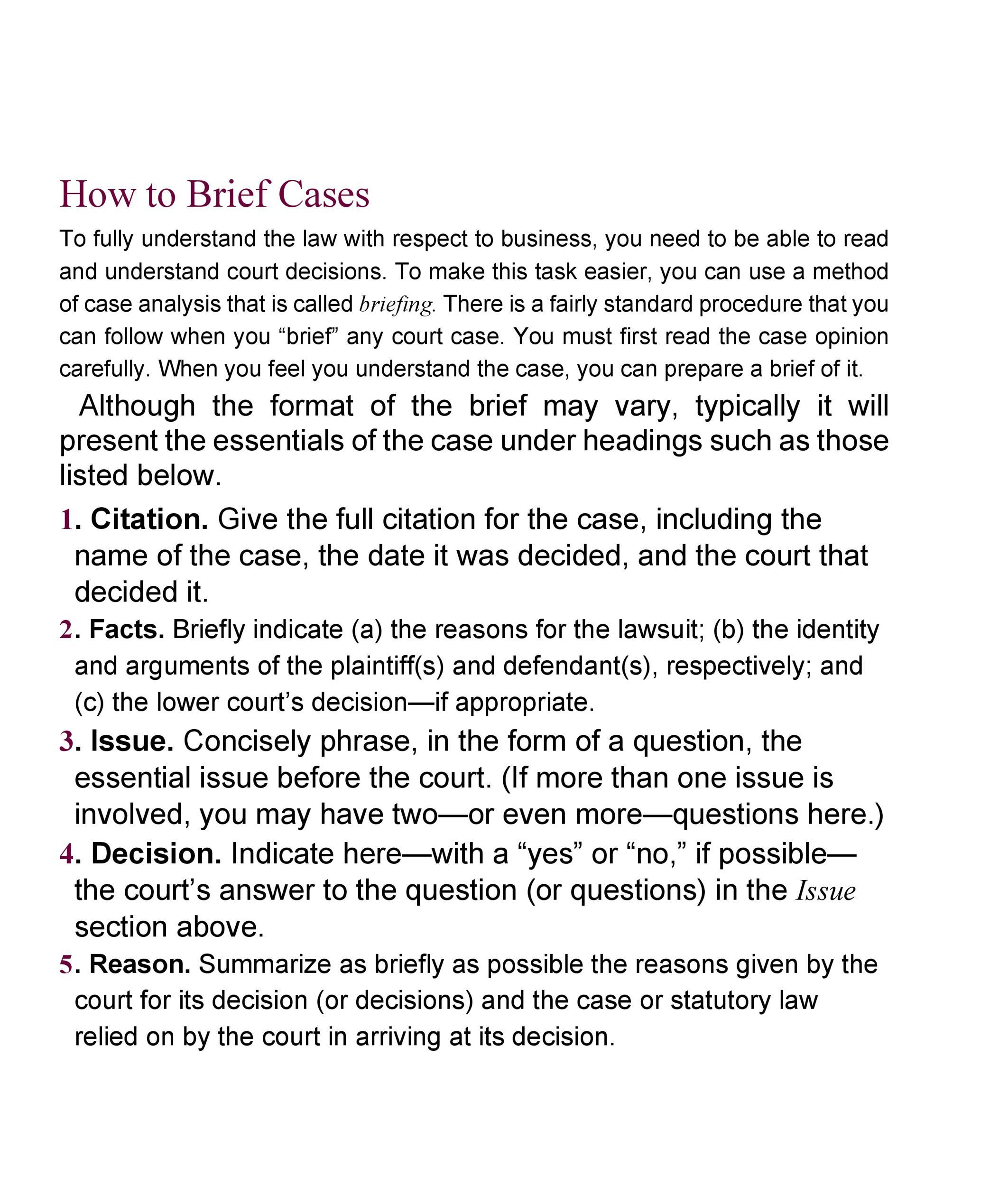 Free case brief template 16