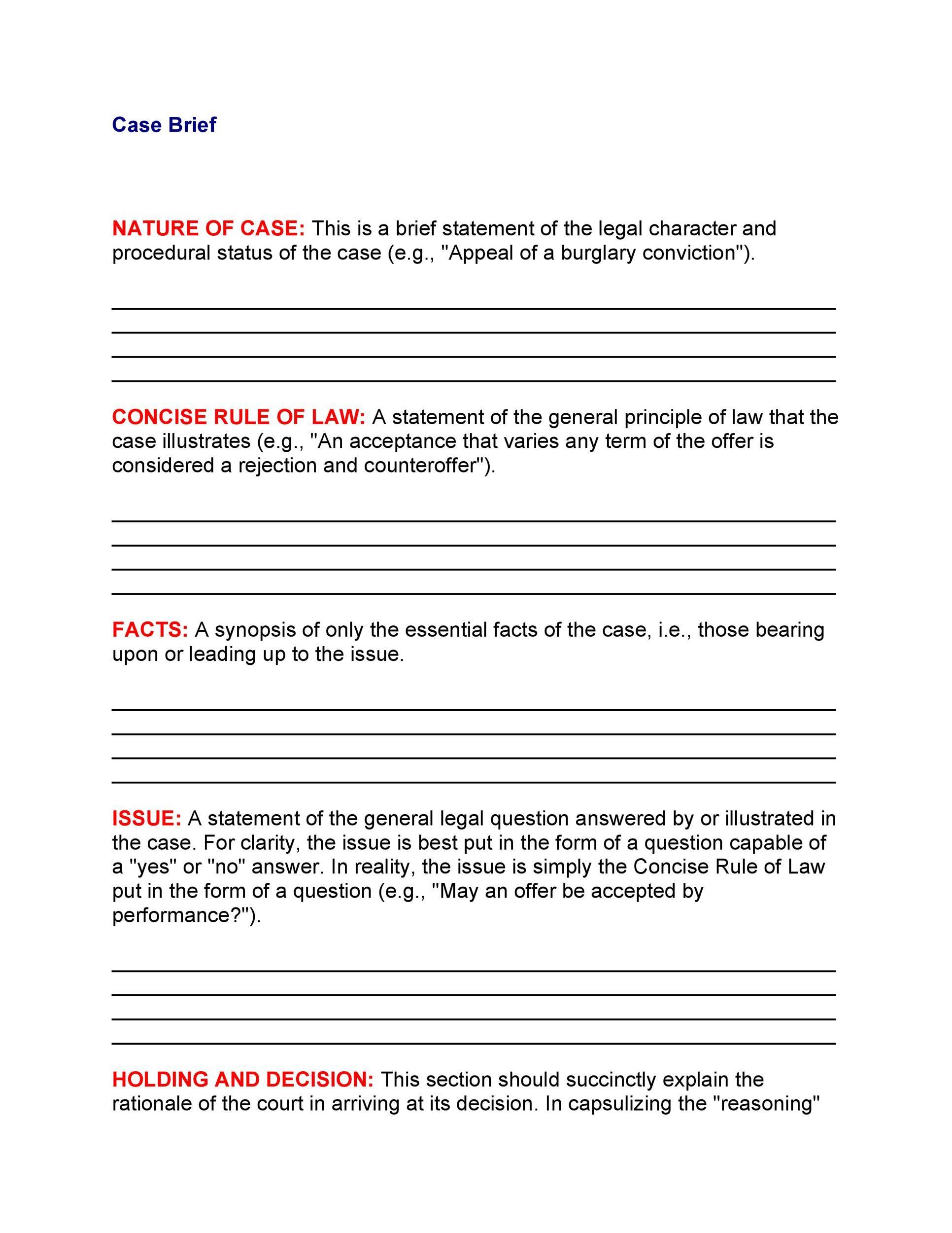 Free case brief template 20