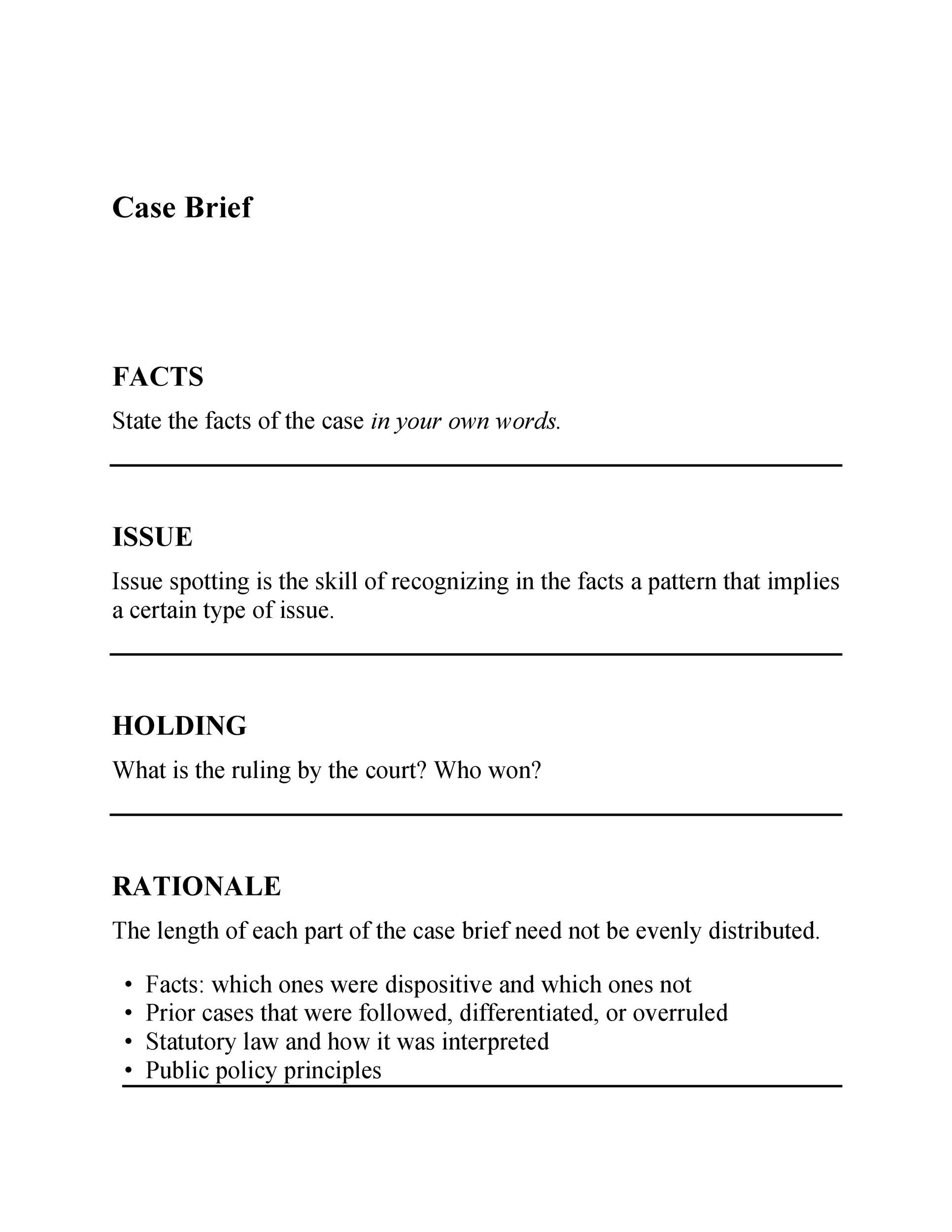 Free case brief template 25