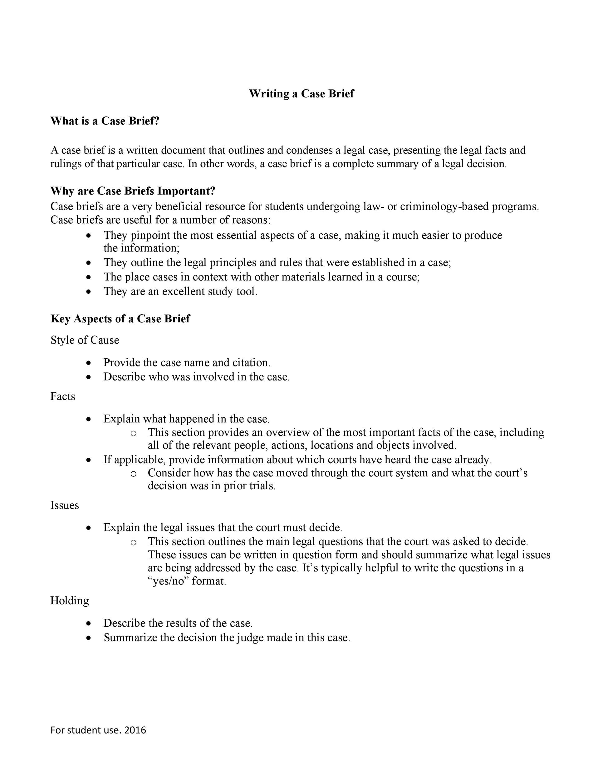 Case Brief Examples  Templates  Template Lab