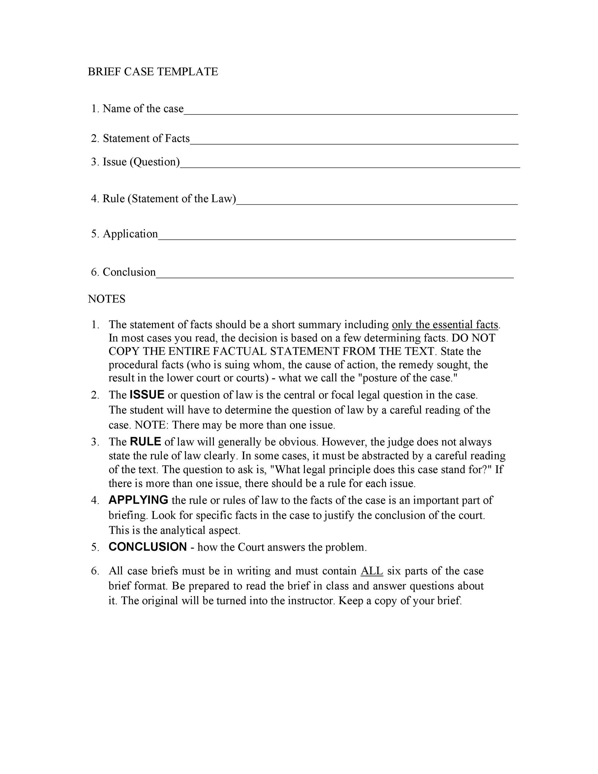 Free case brief template 36
