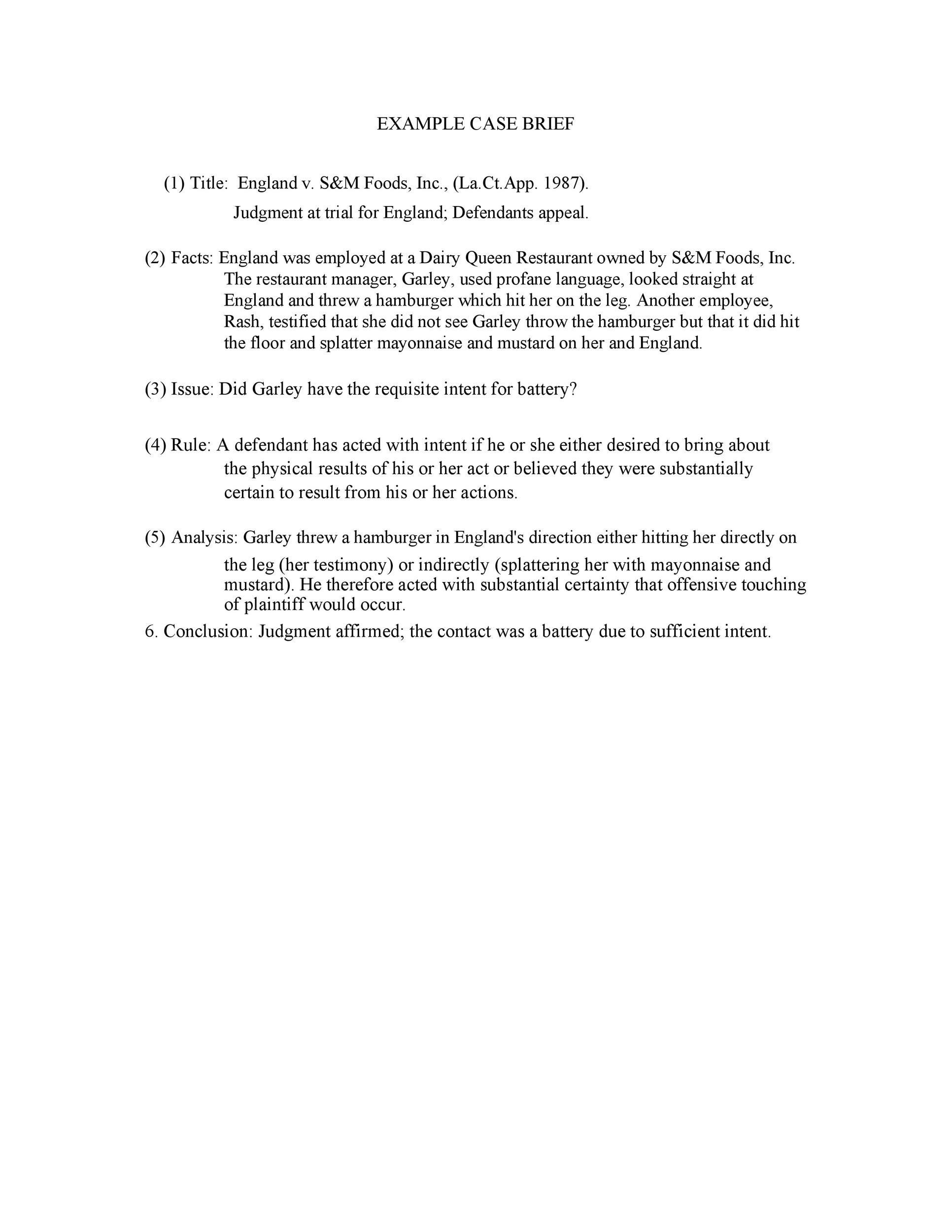 Free case brief template 38