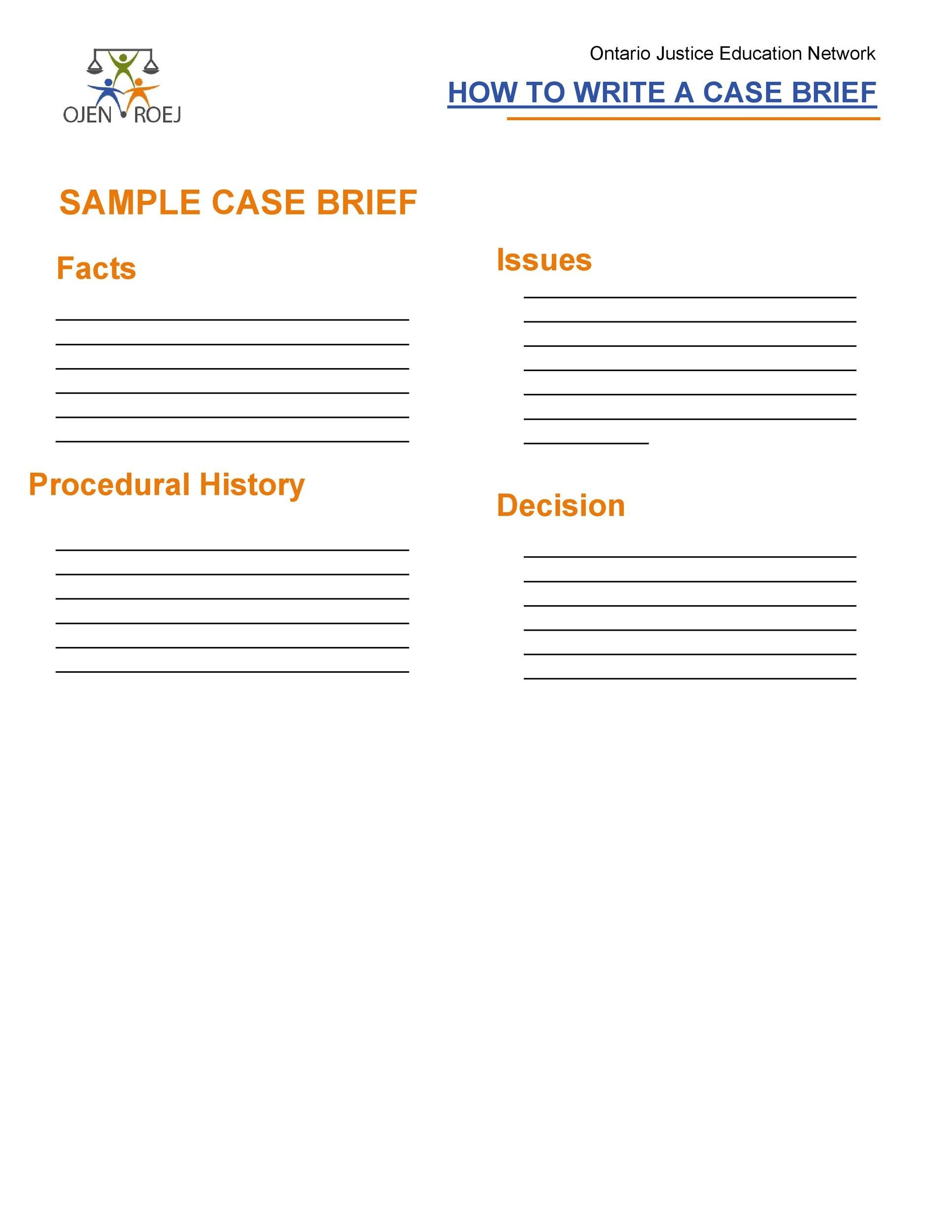 Free case brief template 39