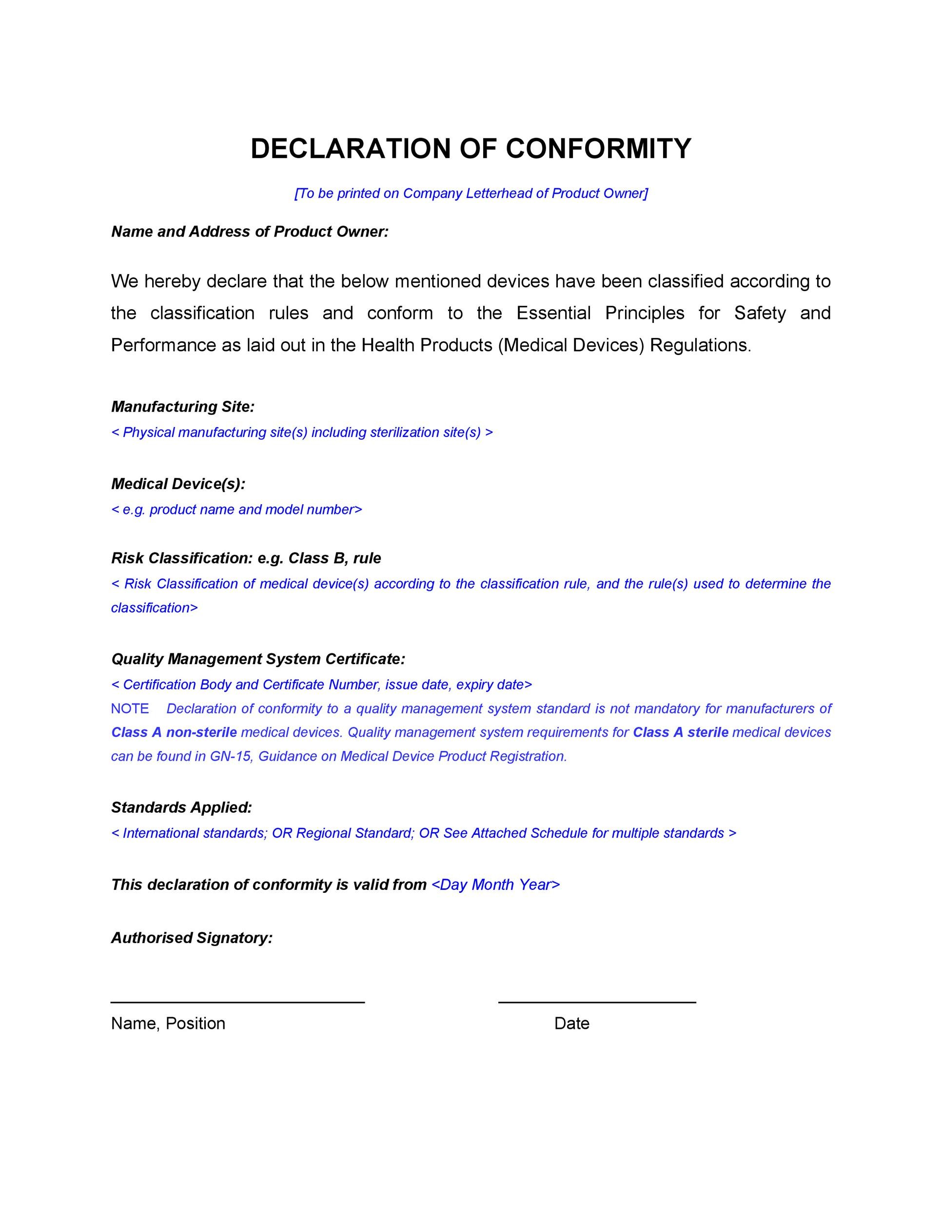 letter of conformance template - 40 free certificate of conformance templates forms