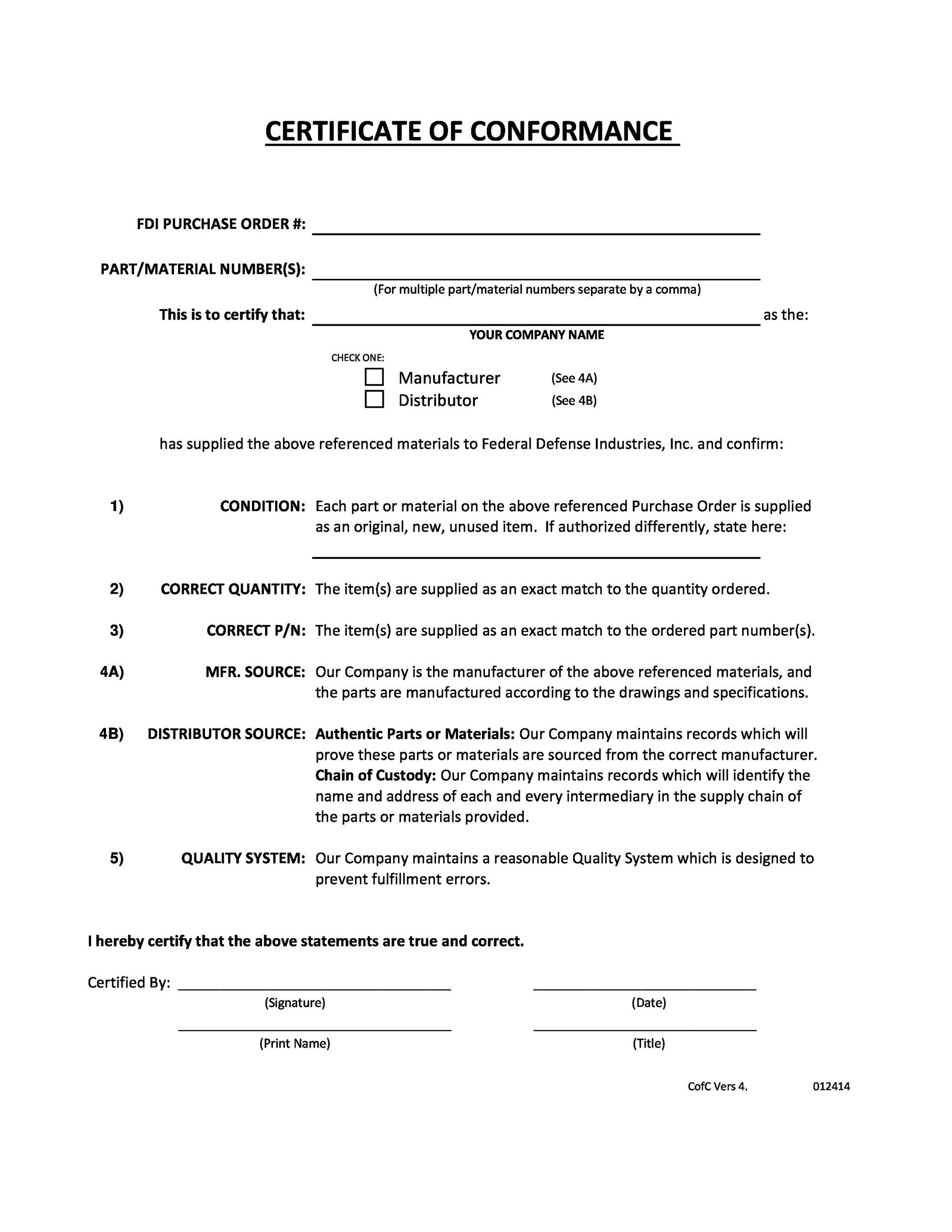 40 free certificate of conformance templates forms for Certificate of manufacture template