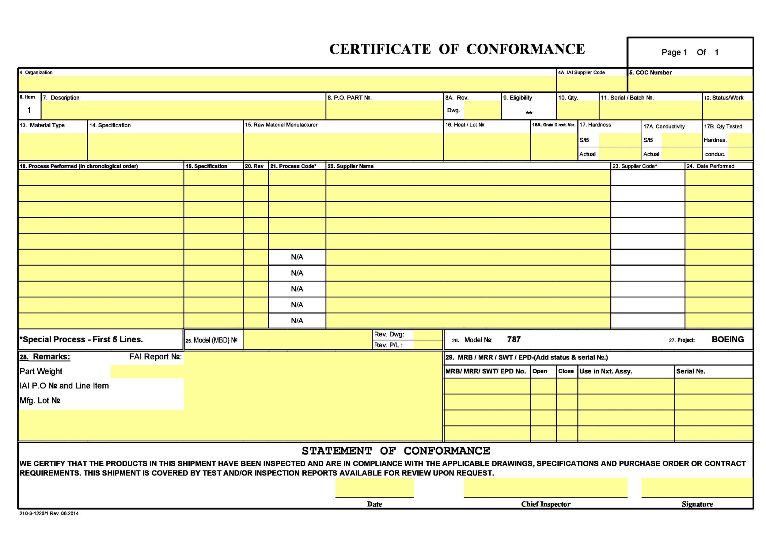 Free Certificate Of Conformance Templates  Forms  Template Lab