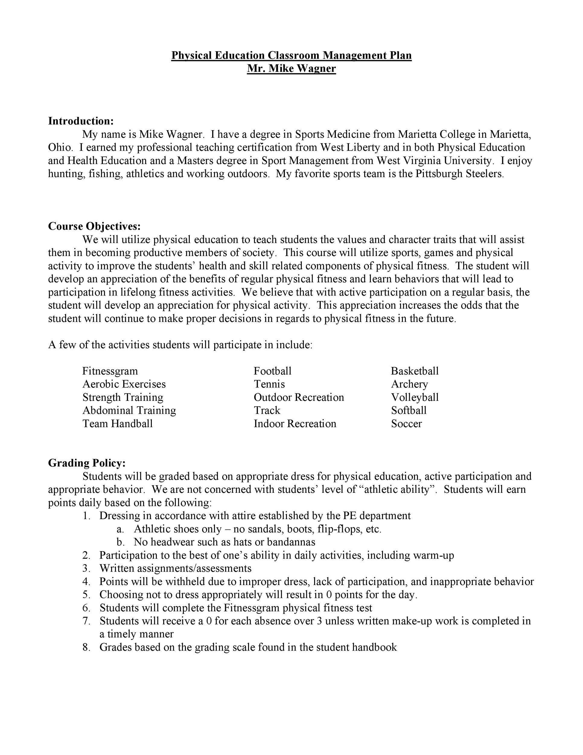 Free classroom management plan 16