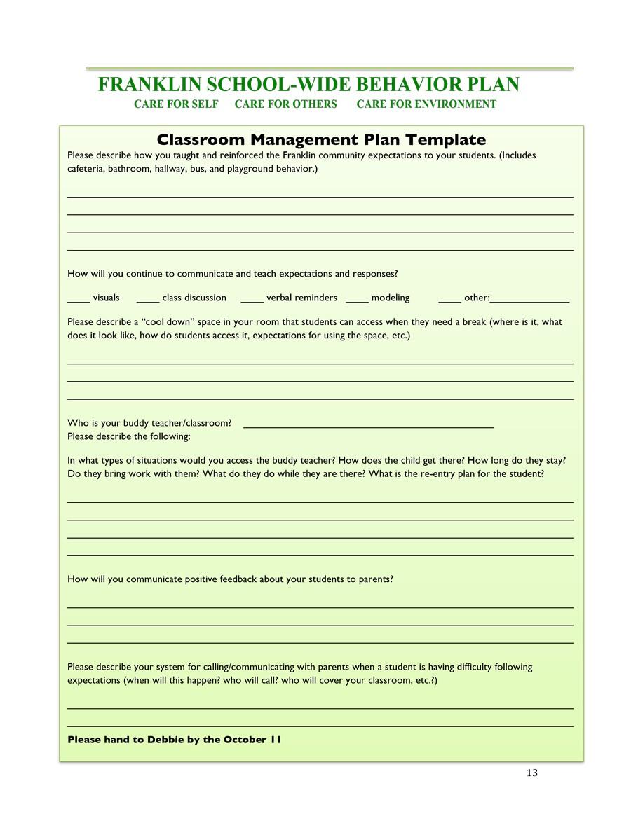 Classroom Management Plan 38 Templates Examples Á… Templatelab