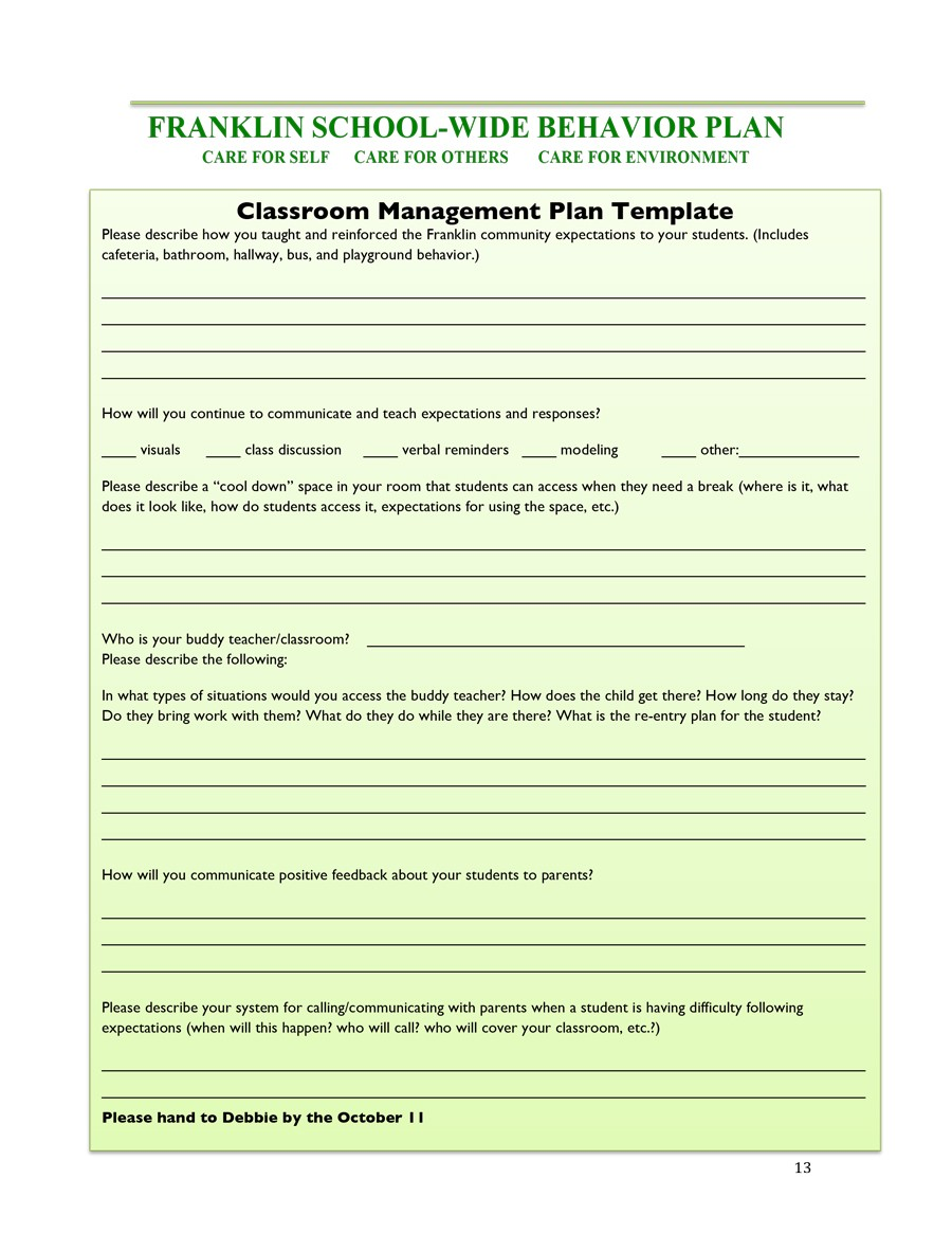 Free classroom management plan 22