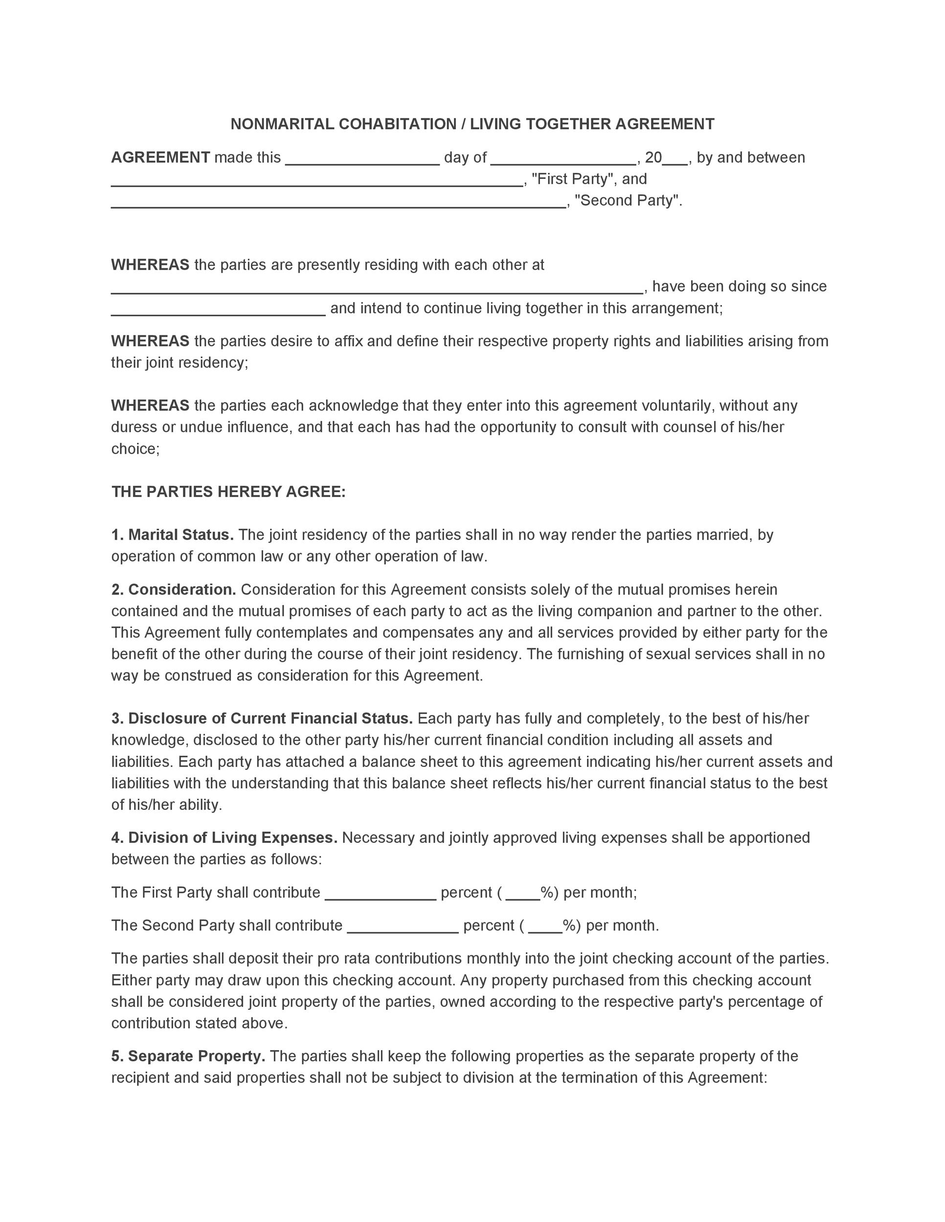Free cohabitation agreement template 01