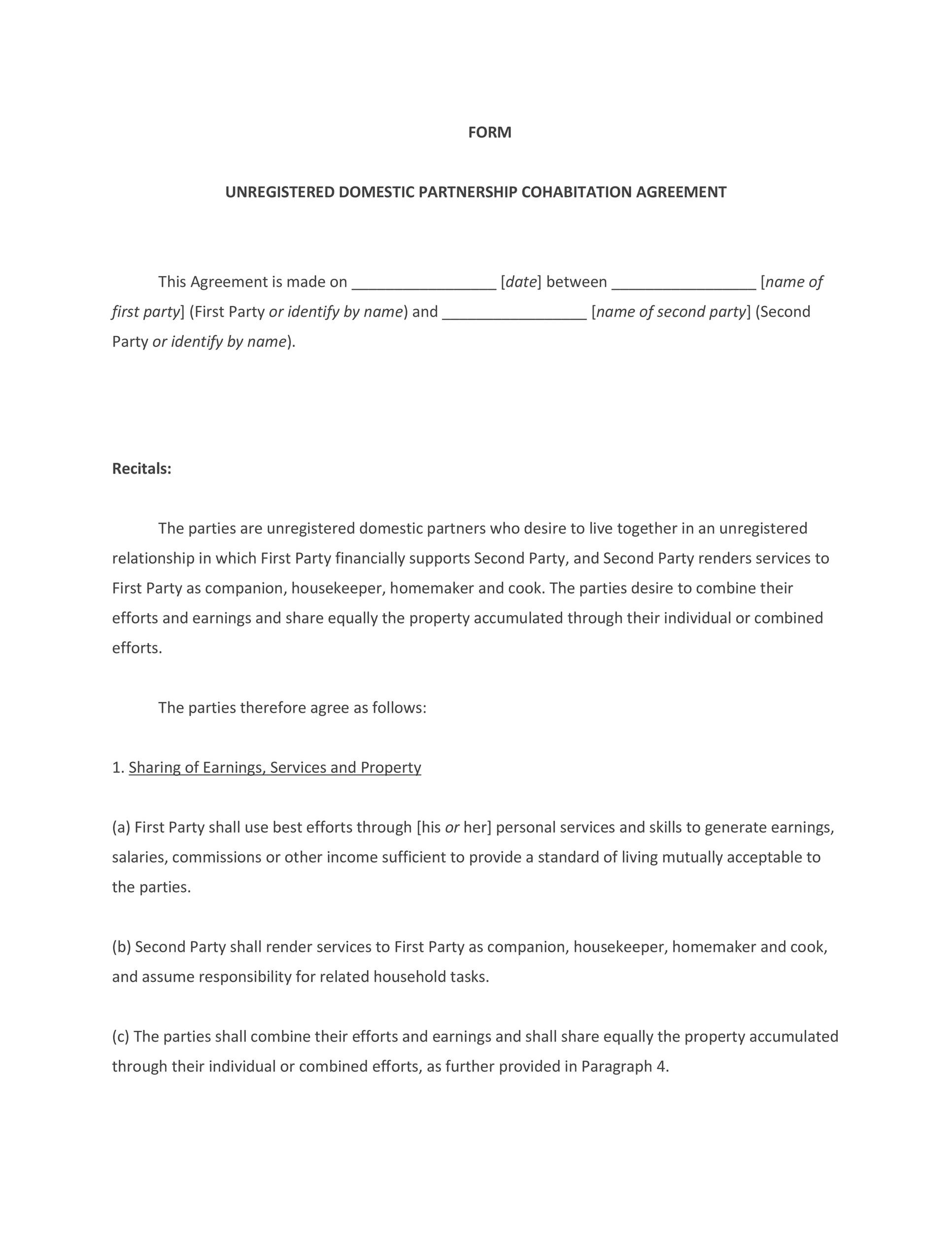 Cohabitation Agreement - 30+ Free Templates & Forms - Template Lab