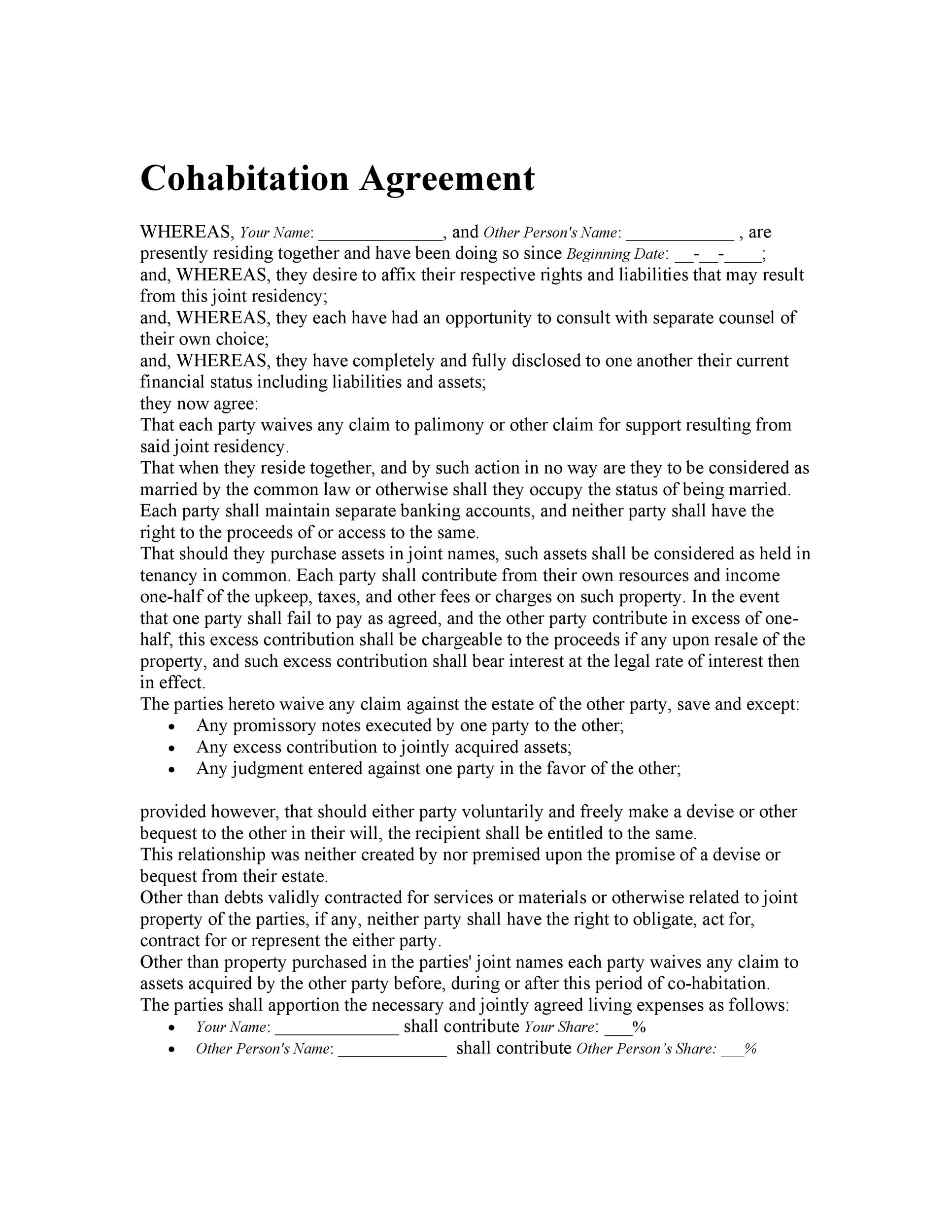 Cohabitation Agreement   Free Templates  Forms  Template Lab