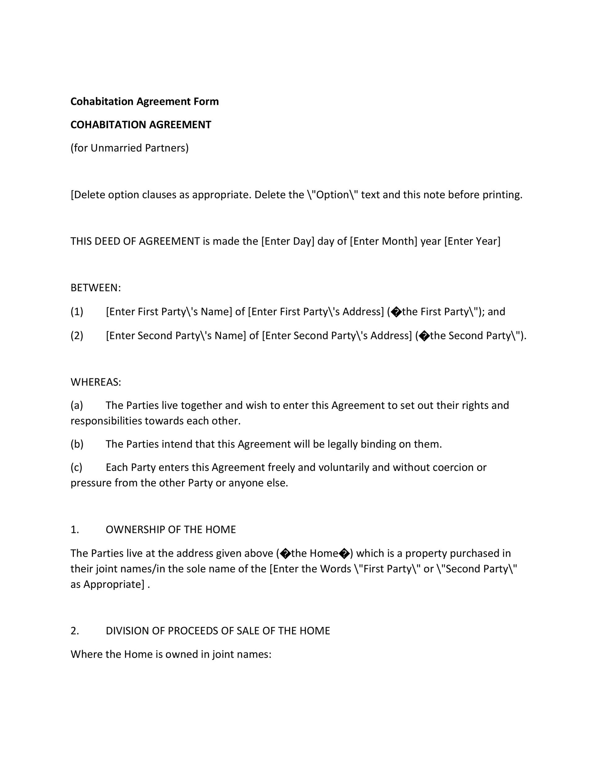 Free cohabitation agreement template 10