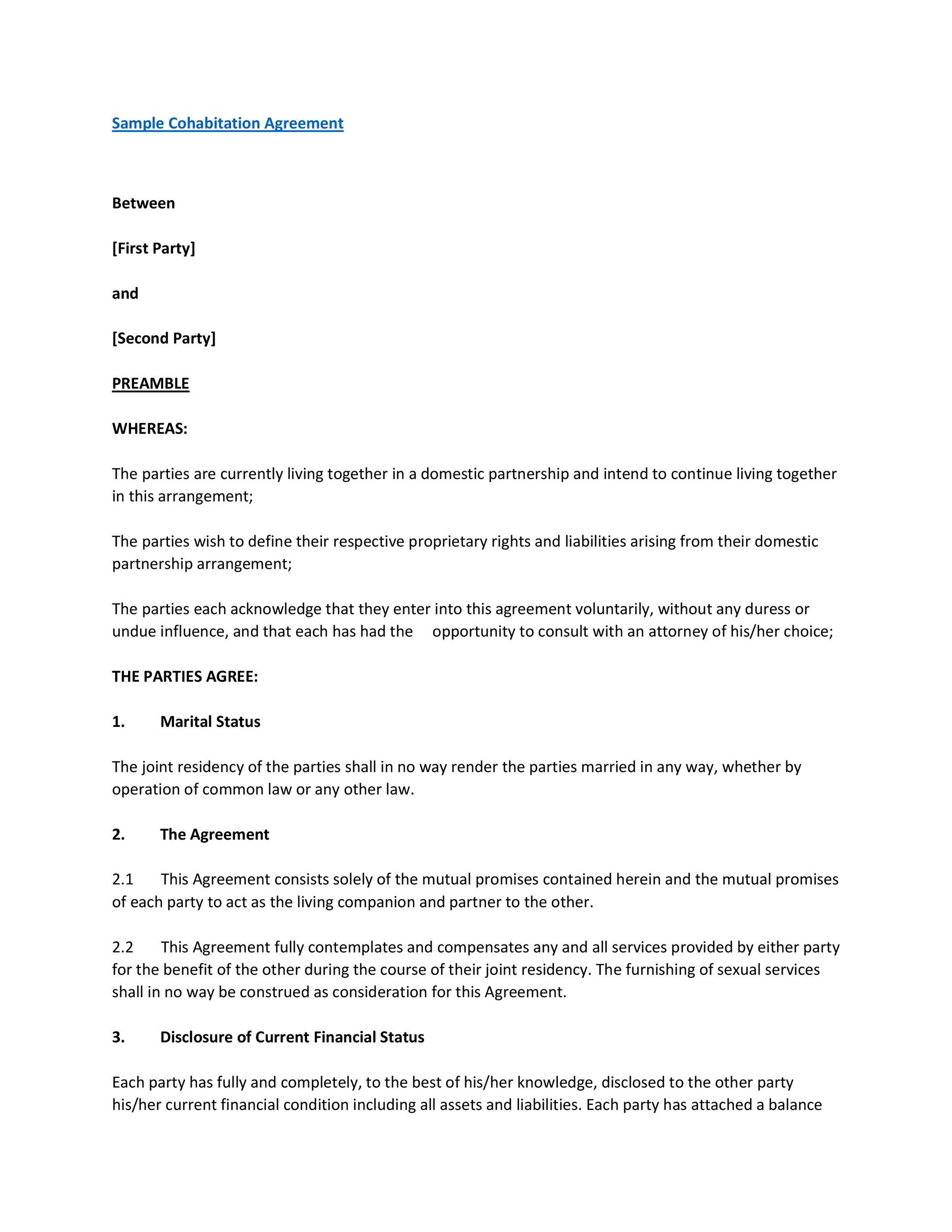 Free cohabitation agreement template 14