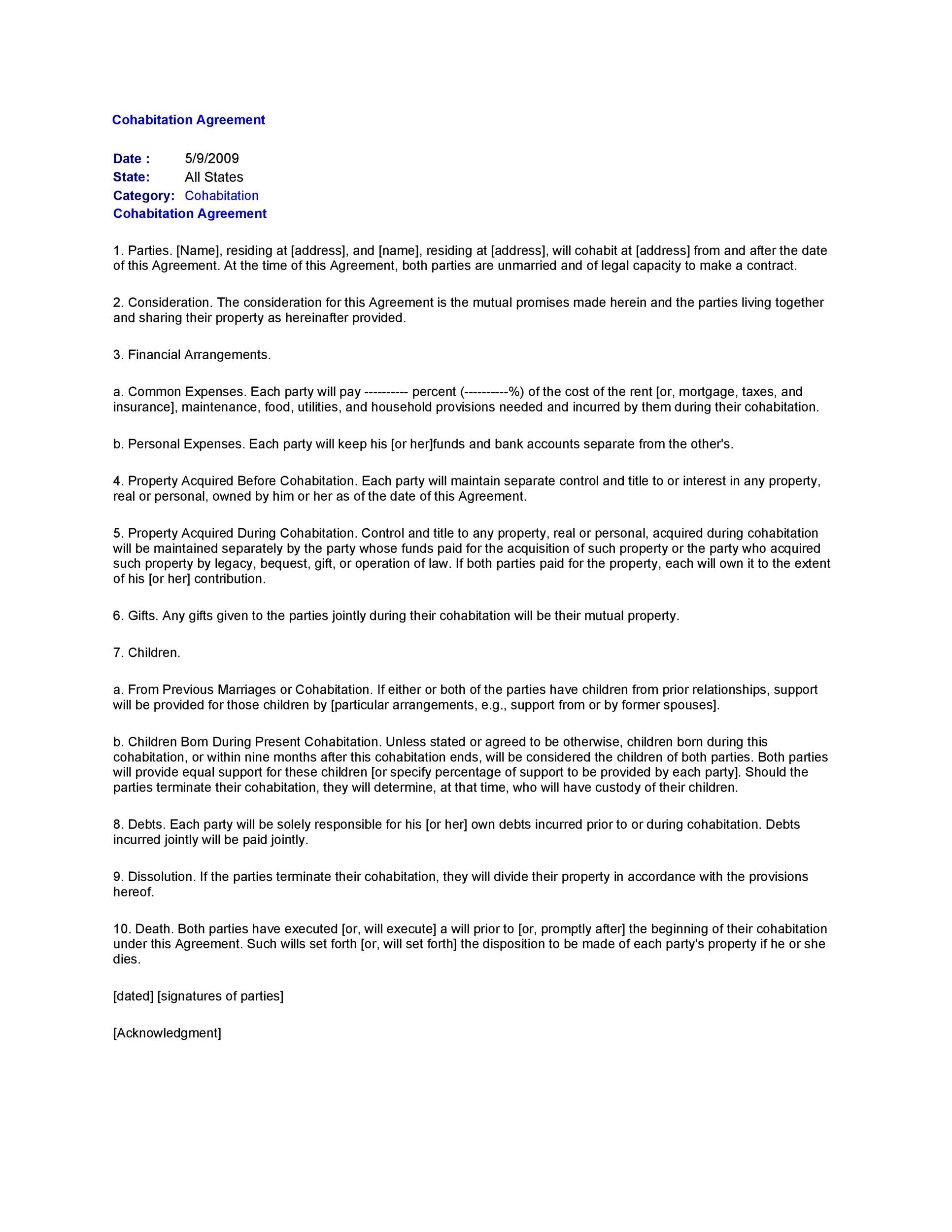 Free cohabitation agreement template 19