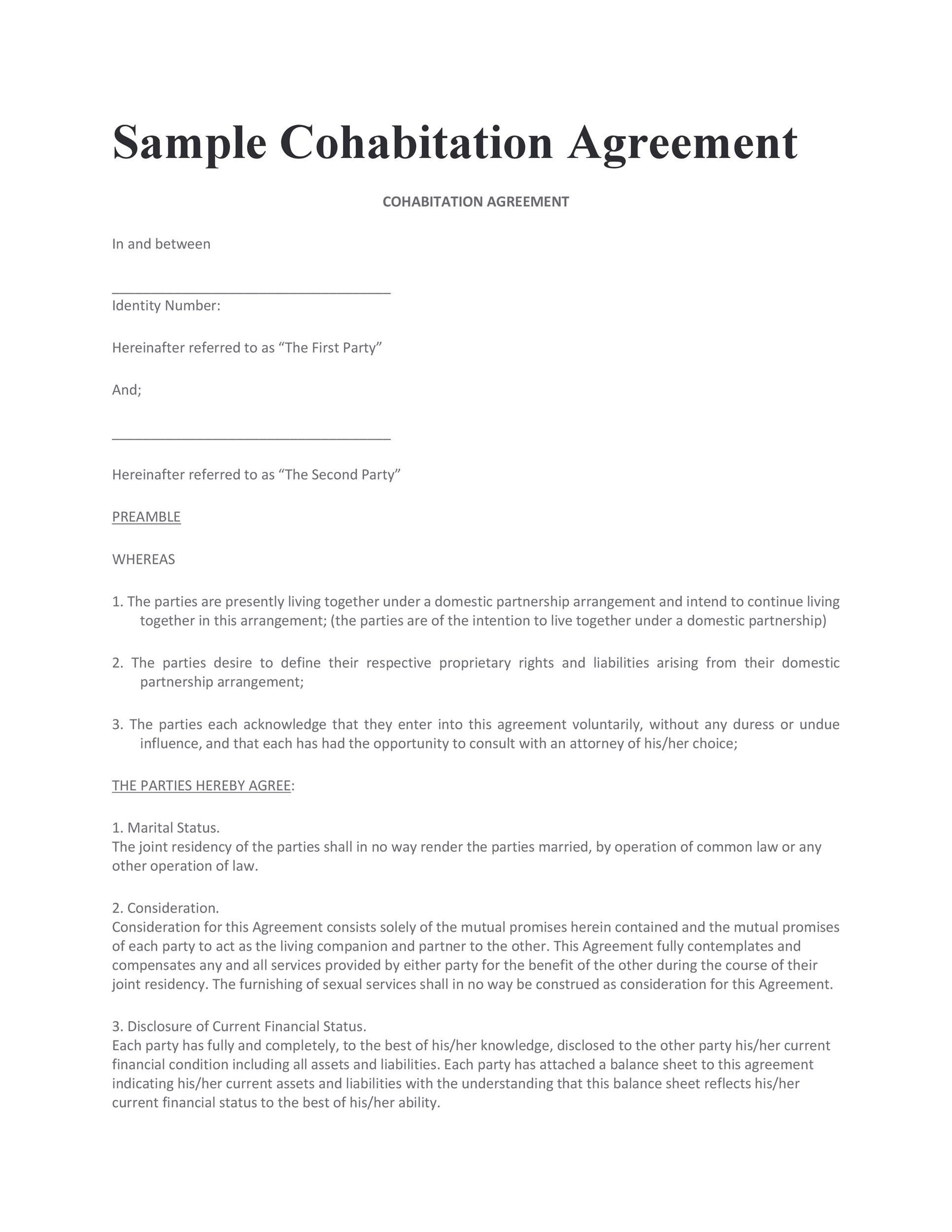 Free cohabitation agreement template 20