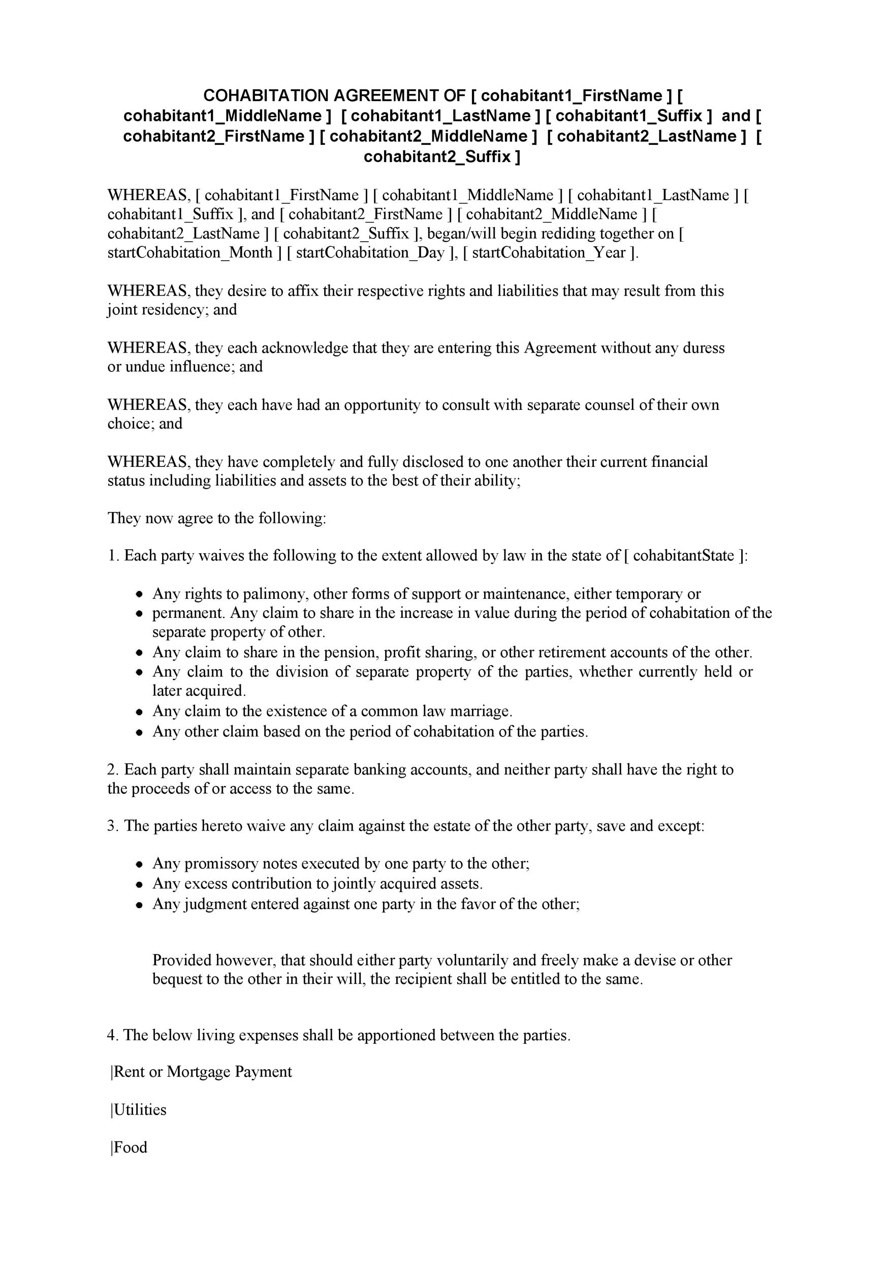 Free cohabitation agreement template 24