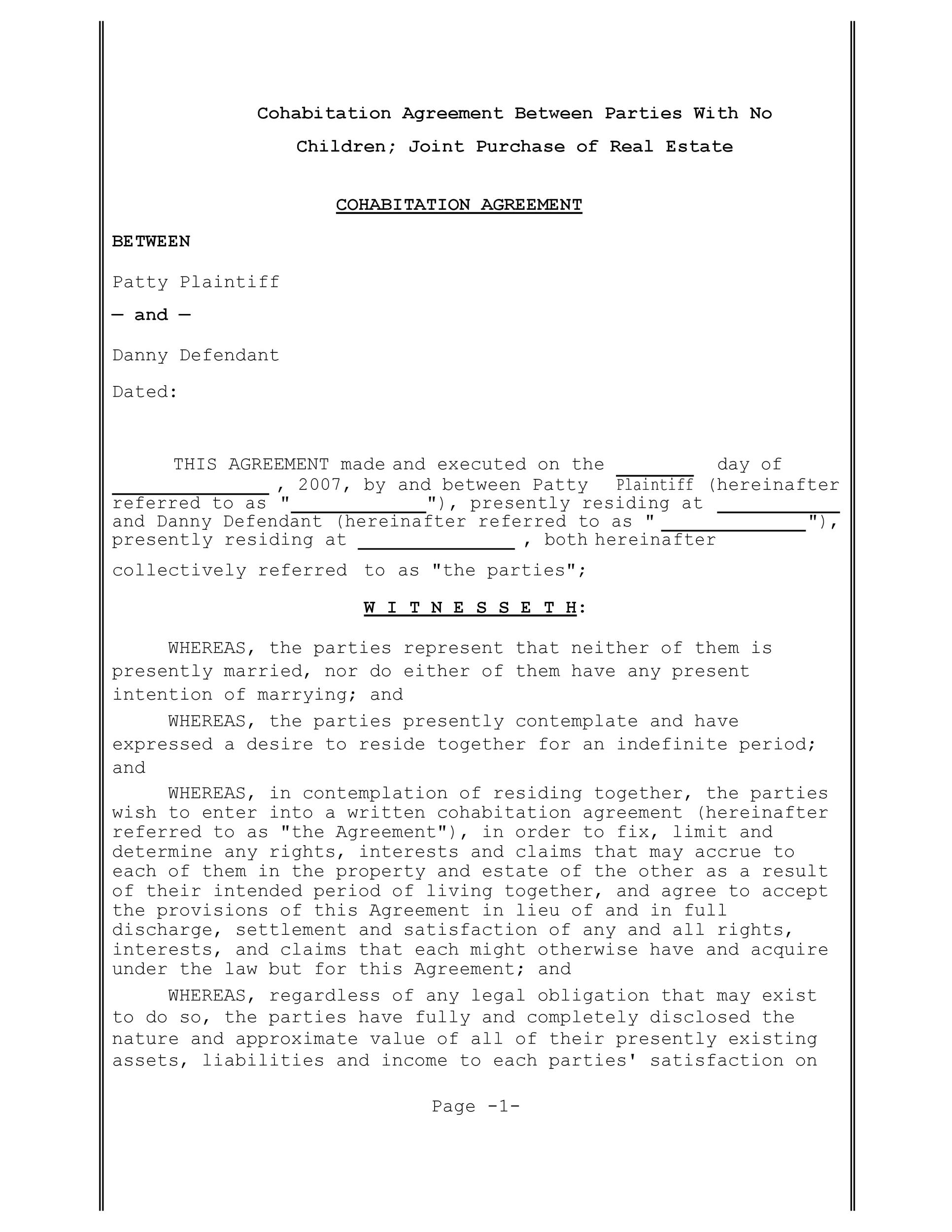 Free cohabitation agreement template 26
