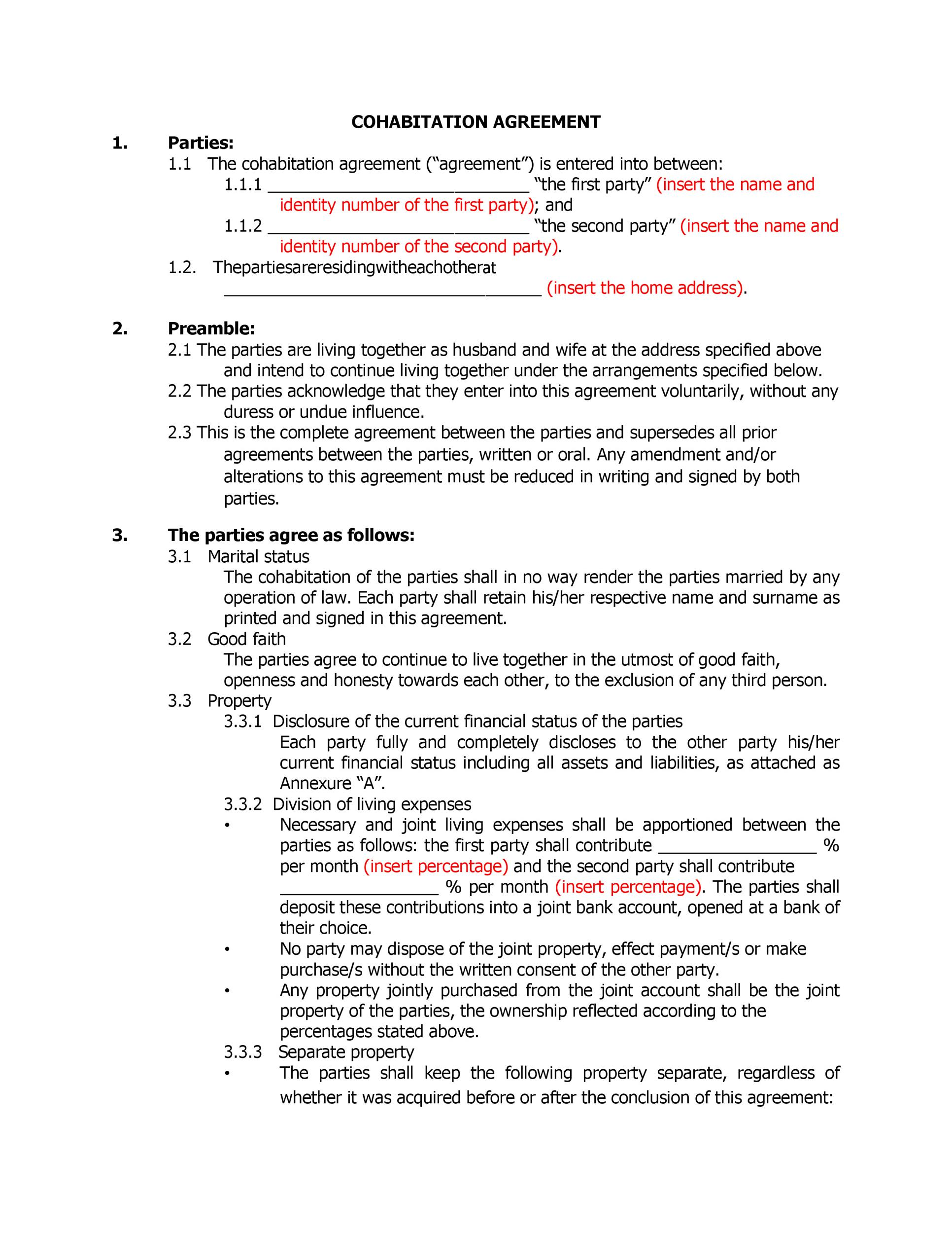 Free cohabitation agreement template 28