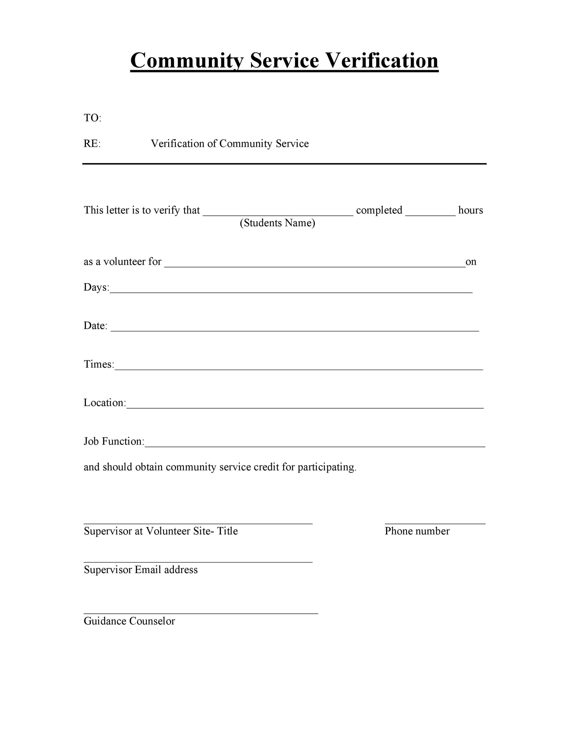 volunteer verification form template Community Service Letter - 40  Templates [Completion, Verification]