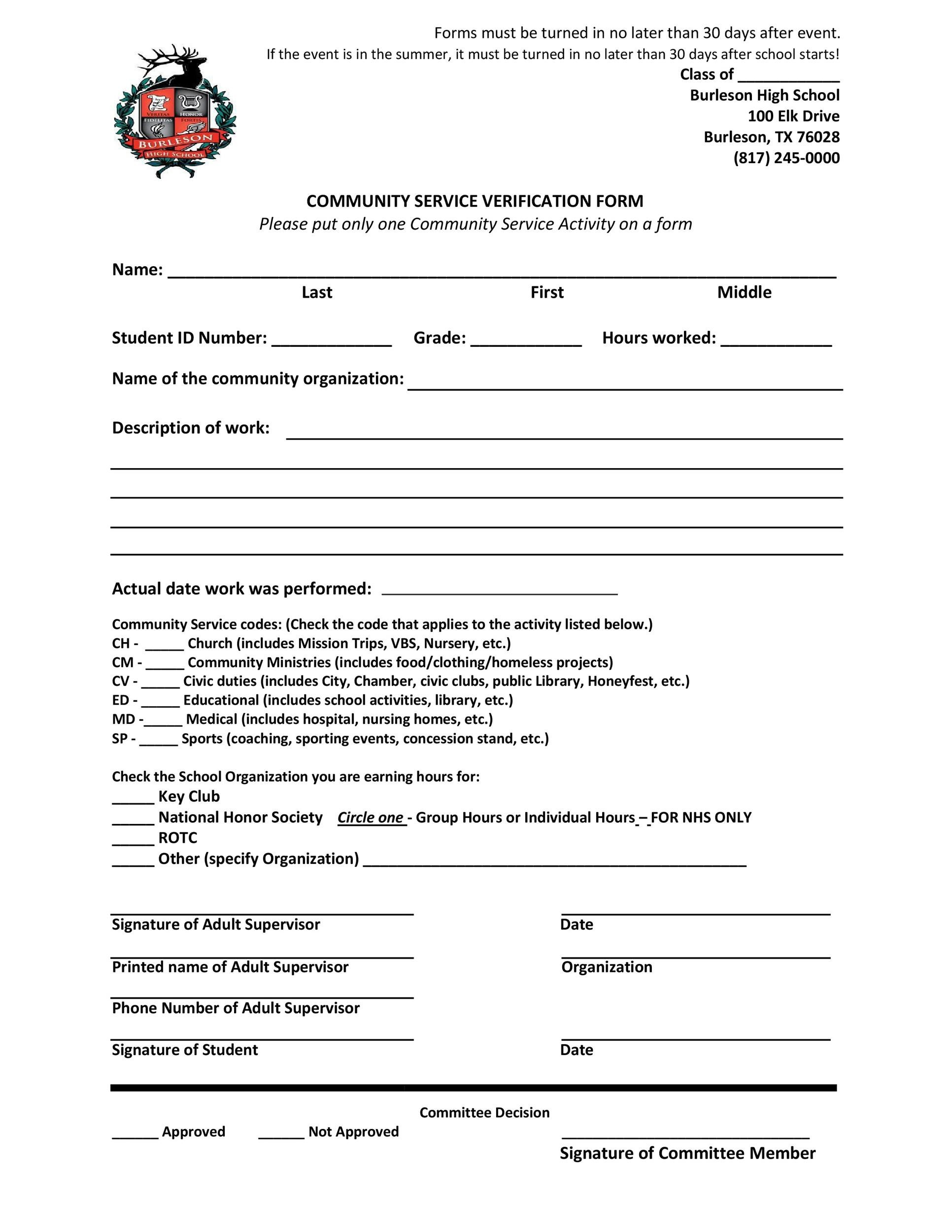 Community service letter 40 templates completion verification printable community service letter template 20 altavistaventures Images